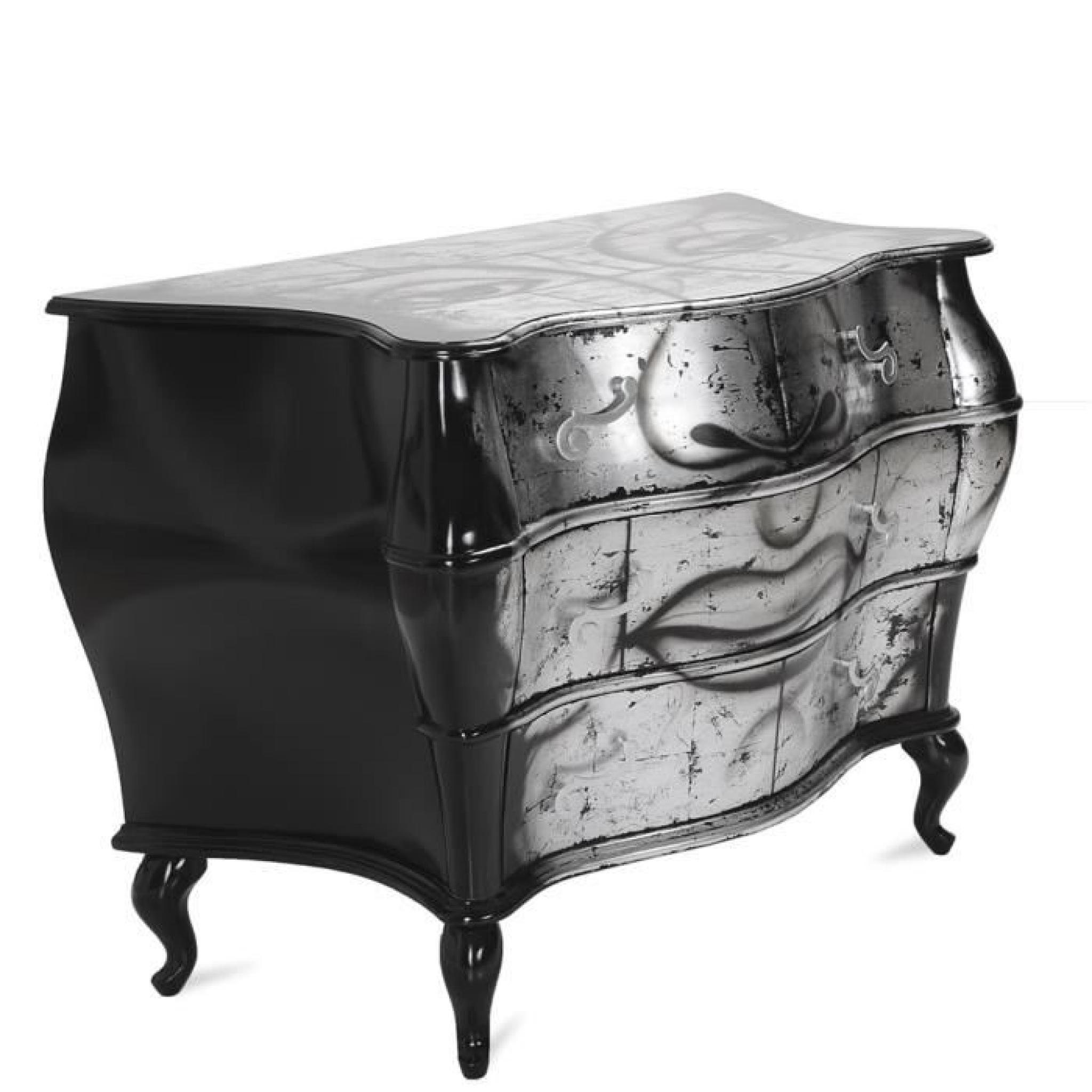 commode pomp 1 noir argent achat vente commode pas cher. Black Bedroom Furniture Sets. Home Design Ideas