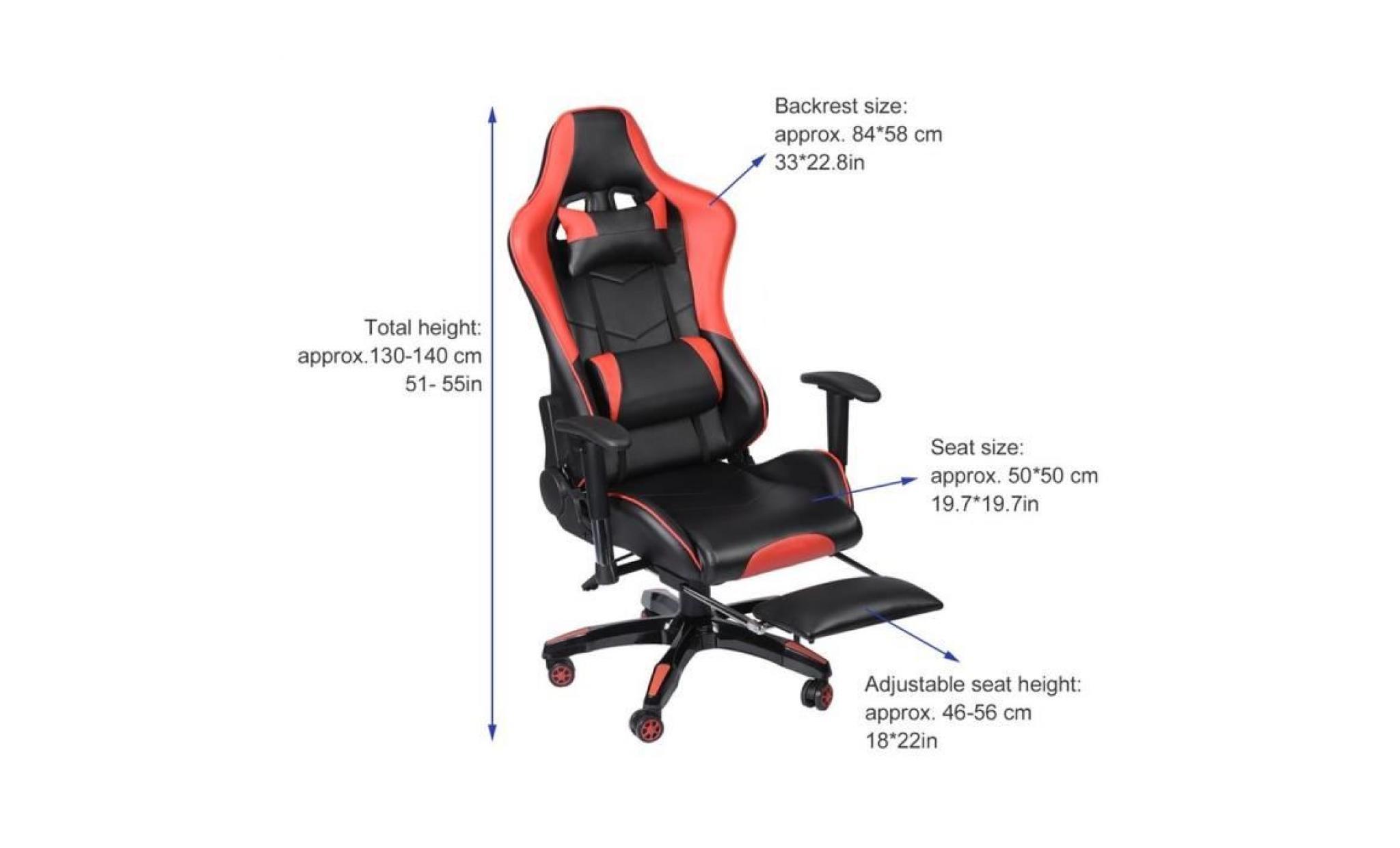 Pivot Modern Ergonomique De À Gamer Confortable Avec D'appui Tête Chaise Design Roulantes Fauteuil Jeu Roues Fatigue 135 ° Anti USGqzpMVL