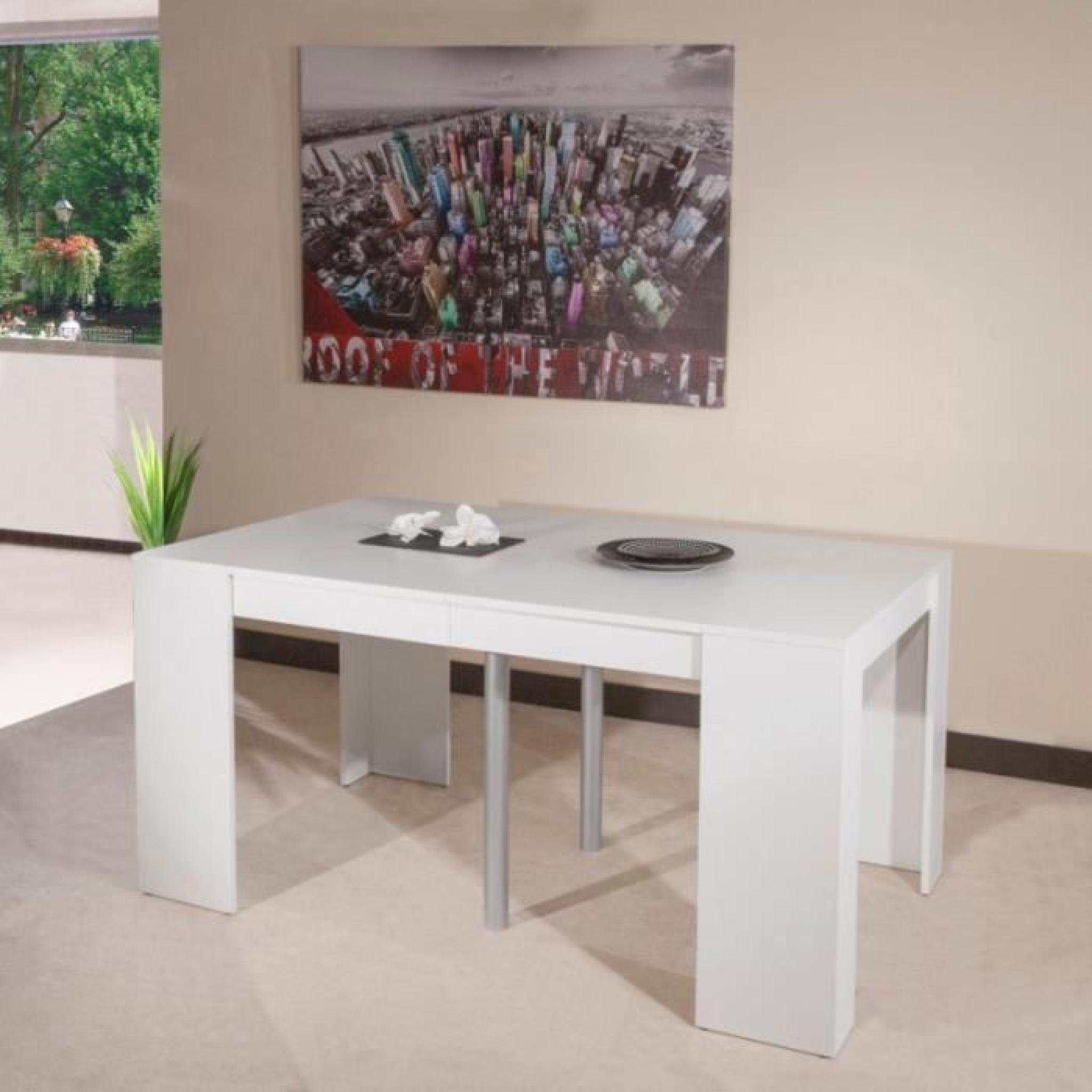 Console elasto blanc mat extensible en table r achat vente ensemble salle - Console extensible blanc laque pas cher ...