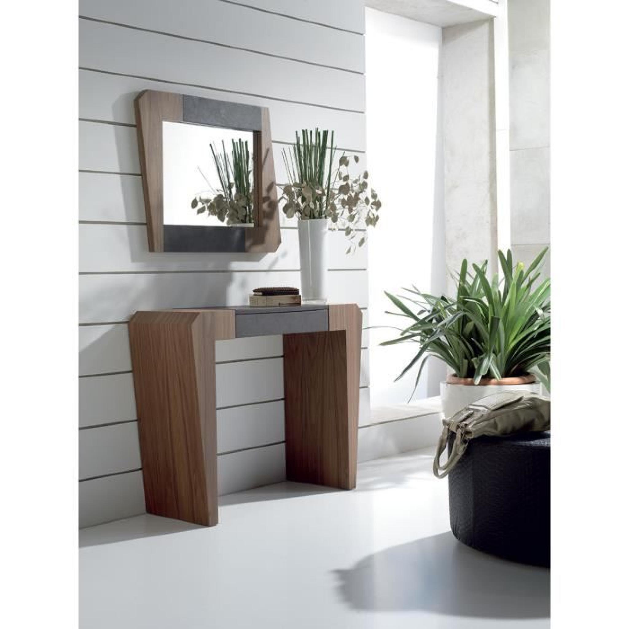 Console murale couleur chêne moyen et PU noir 1 tiroir contemporaine  MAKENNA Avec miroir
