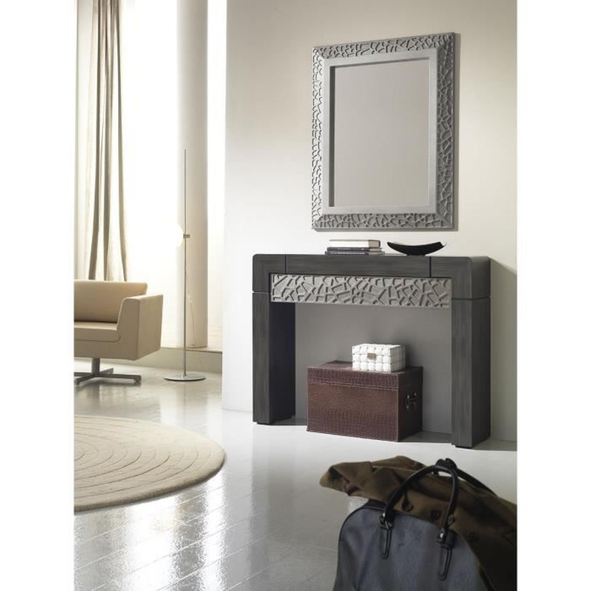 Console murale patin gris plomb et reliefs 1 tiroir for Miroir gris argent