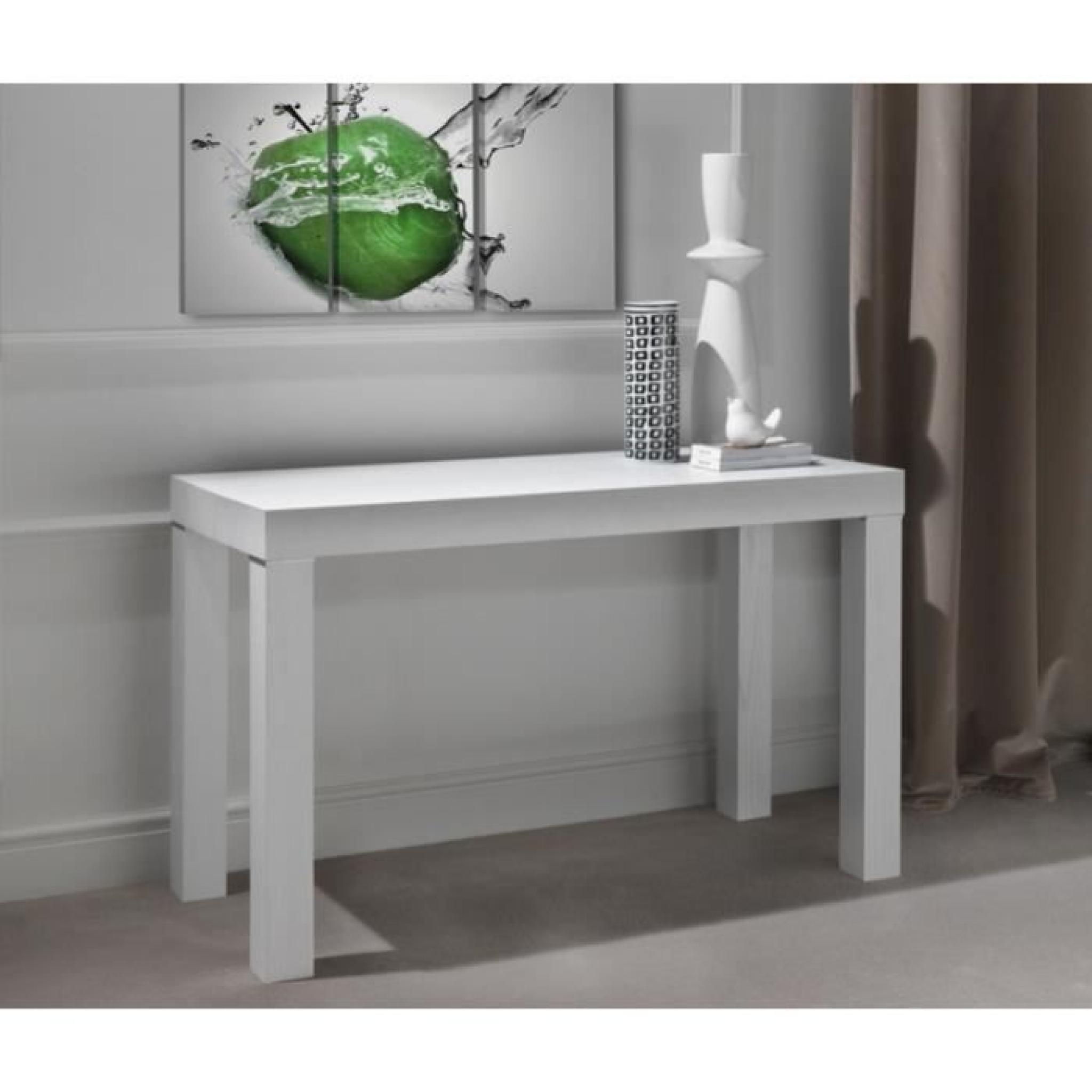 console murale transformable en table blanc laurine 3 rallonges achat vente console meuble pas. Black Bedroom Furniture Sets. Home Design Ideas