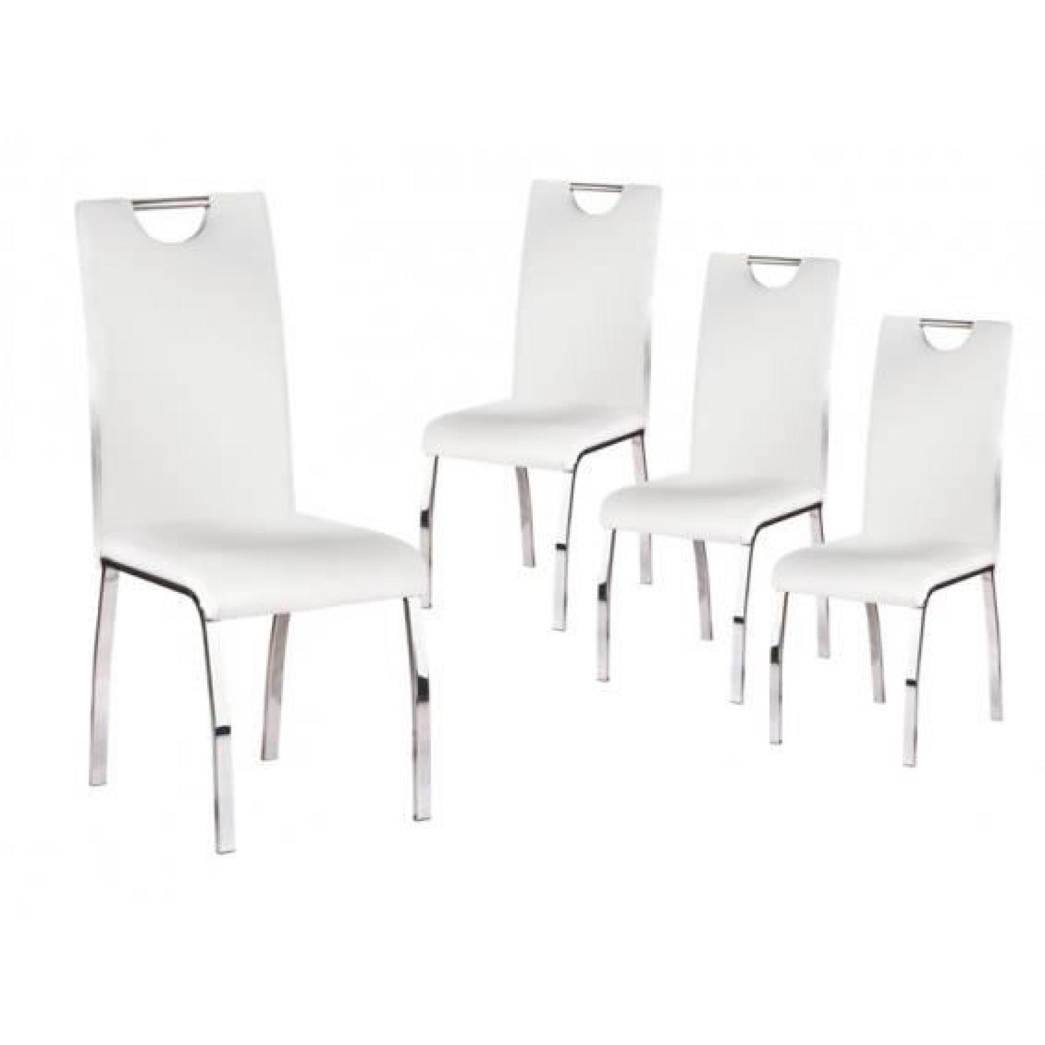 Cooper Lot 4 Chaises Blanches Achat Vente Chaise Salle A Manger