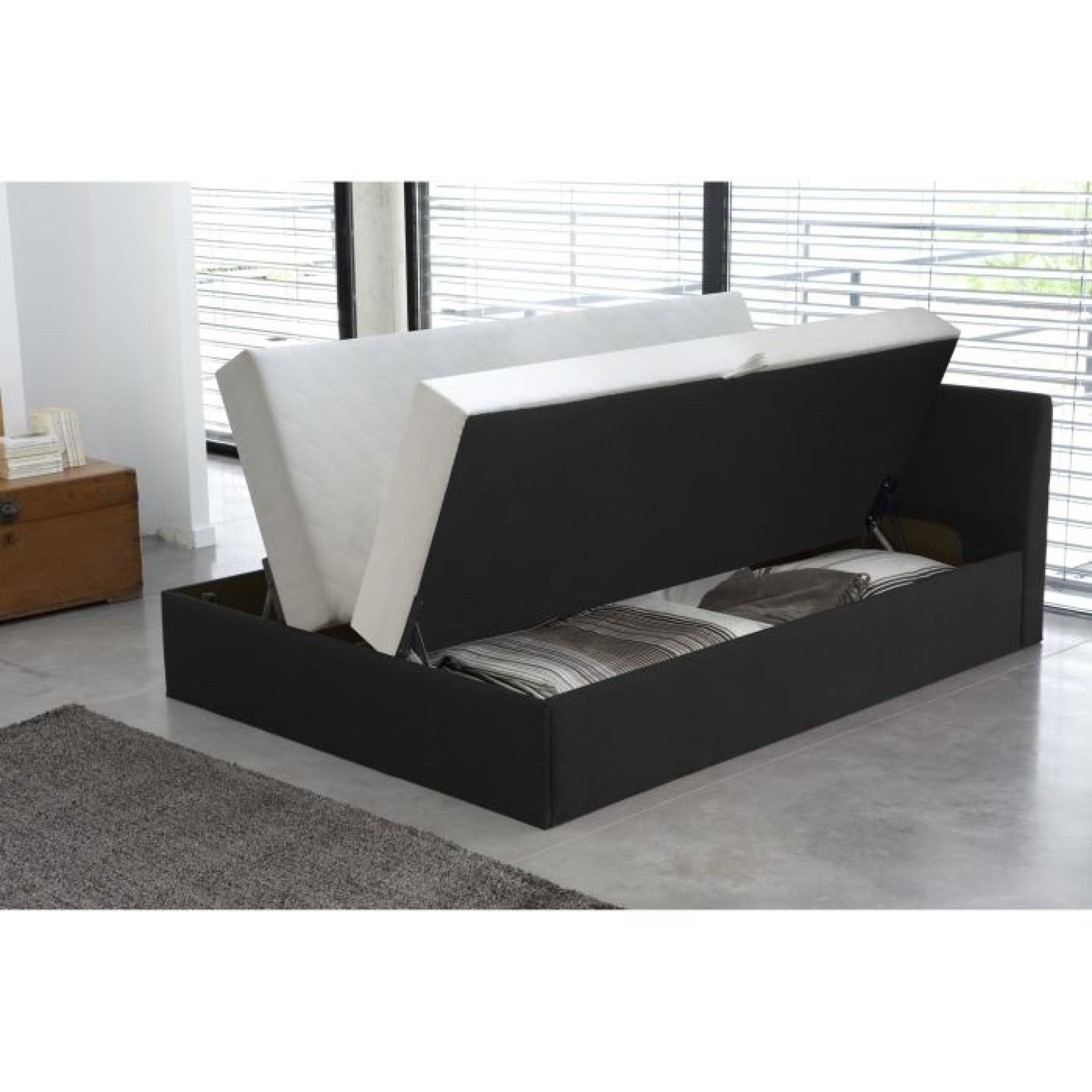 cosmo lit complet avec coffre noir 140x190 cm achat. Black Bedroom Furniture Sets. Home Design Ideas