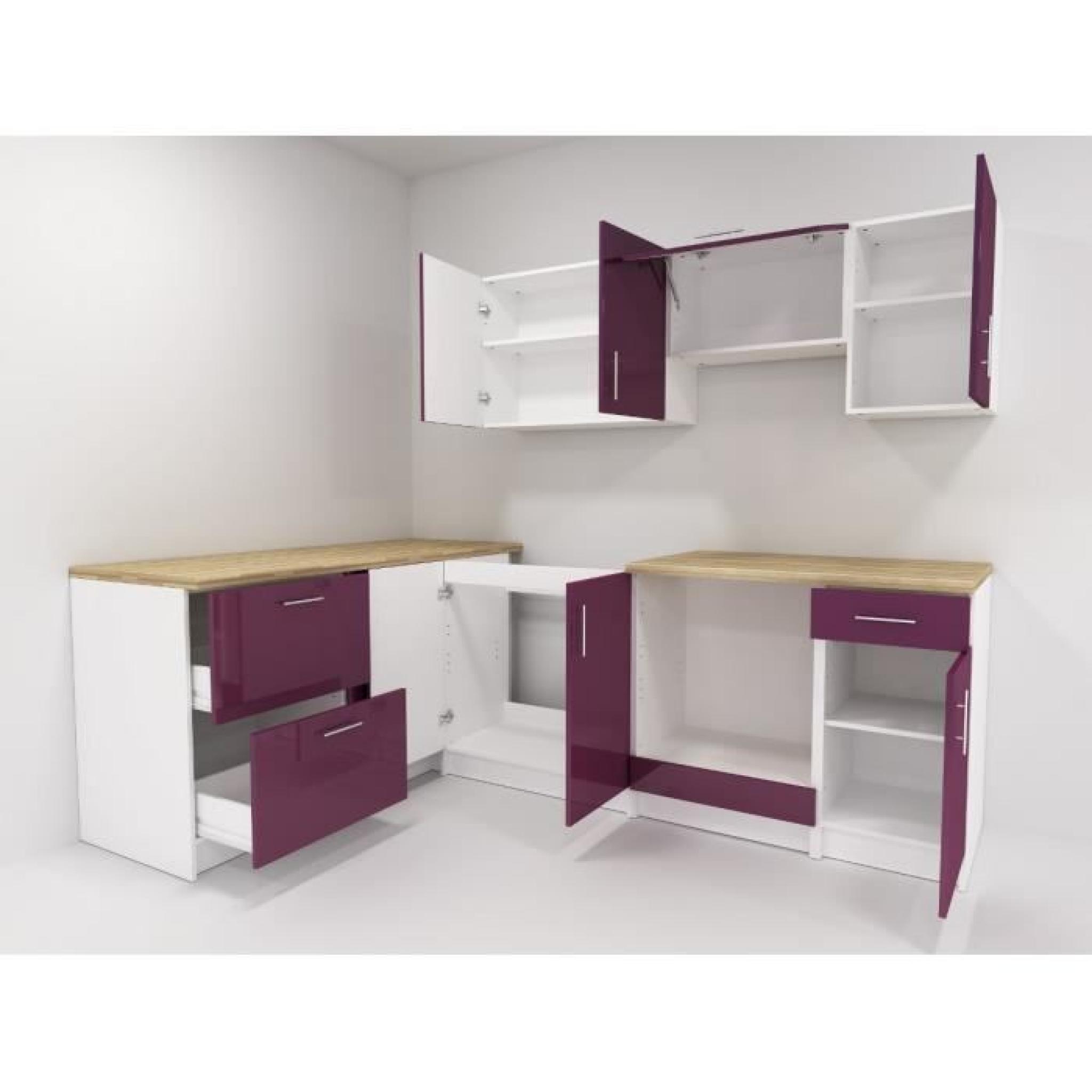 cosy cuisine compl te 2m80 laqu aubergine achat vente. Black Bedroom Furniture Sets. Home Design Ideas