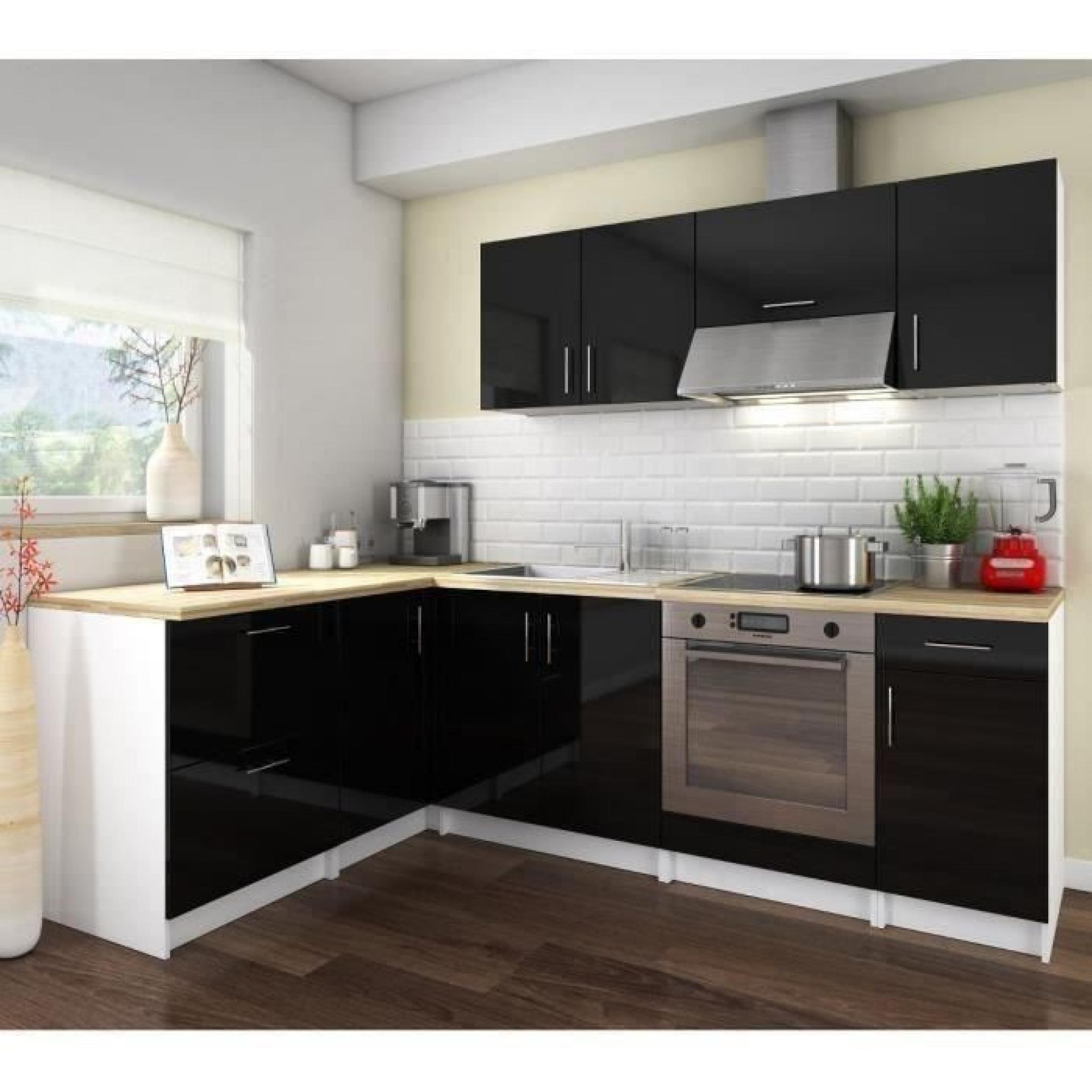 cosy cuisine compl te 2m80 laqu noir achat vente cuisine complete pas cher couleur et. Black Bedroom Furniture Sets. Home Design Ideas