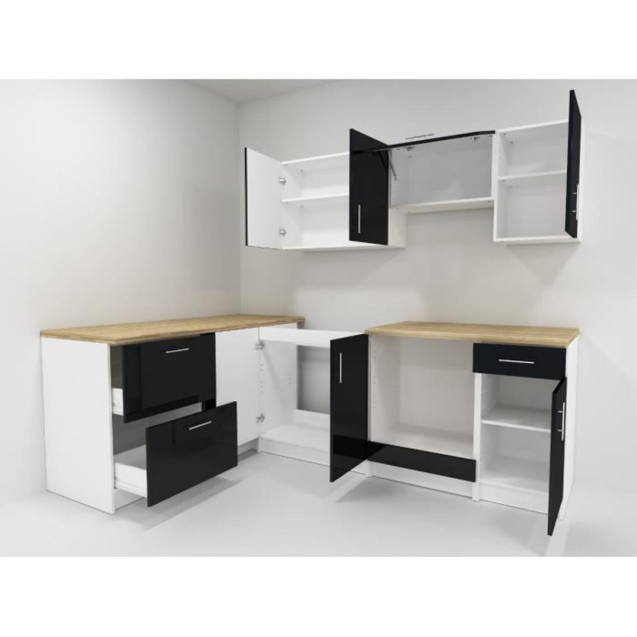 cosy cuisine compl te 2m80 laqu noir achat vente. Black Bedroom Furniture Sets. Home Design Ideas