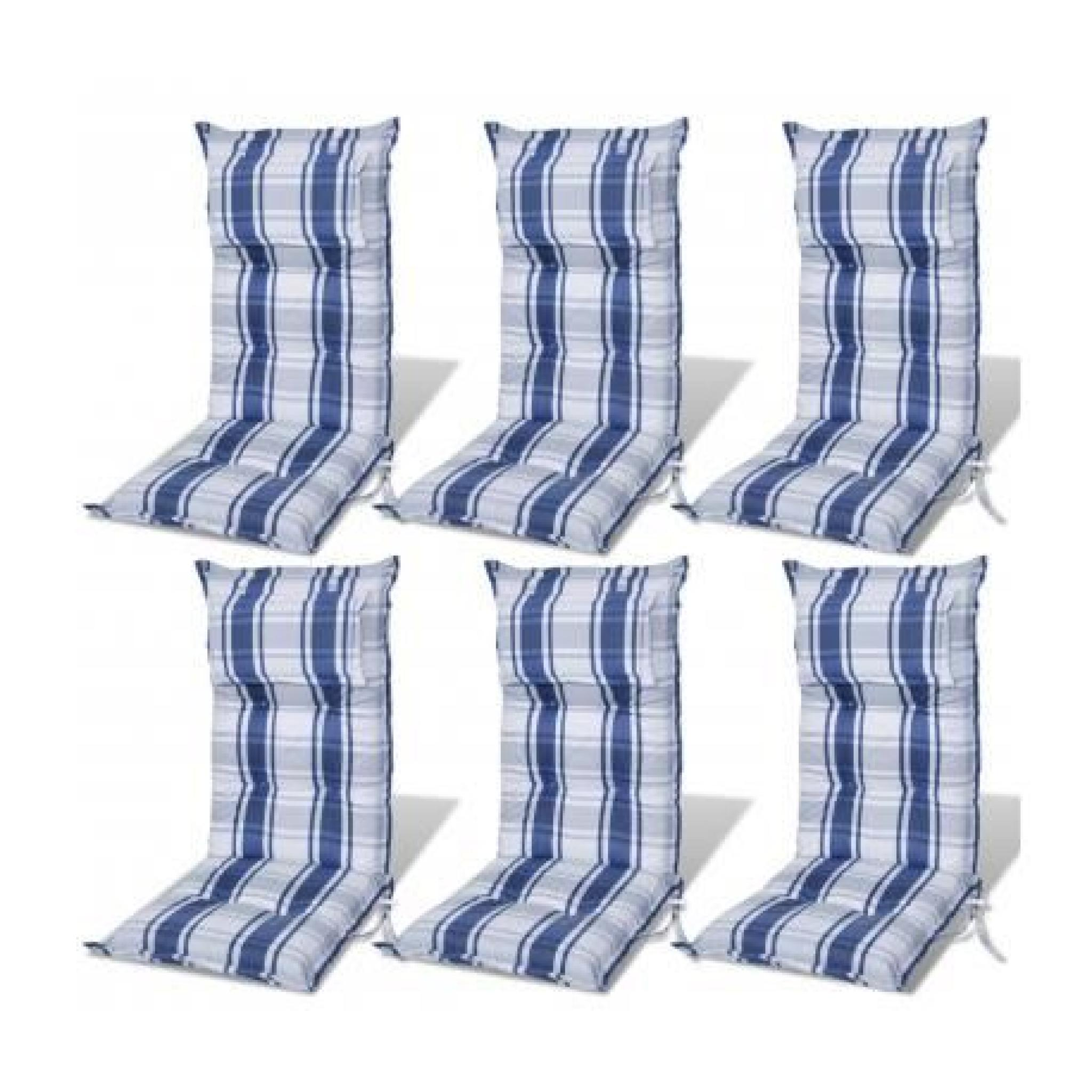 coussin pour chaise de jardin bleu, 8cm dépaiss - achat/vente