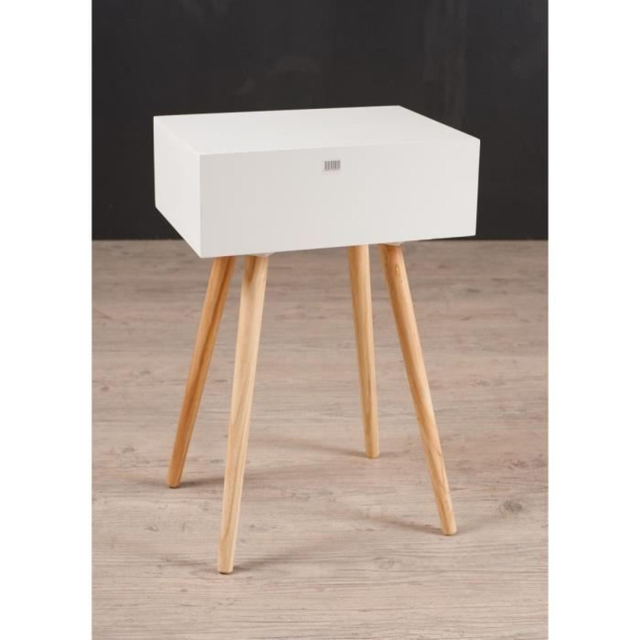 Cracovie chevet 1 tiroir 40 cm blanc gris et taupe for Table de chevet blanc laque pas cher