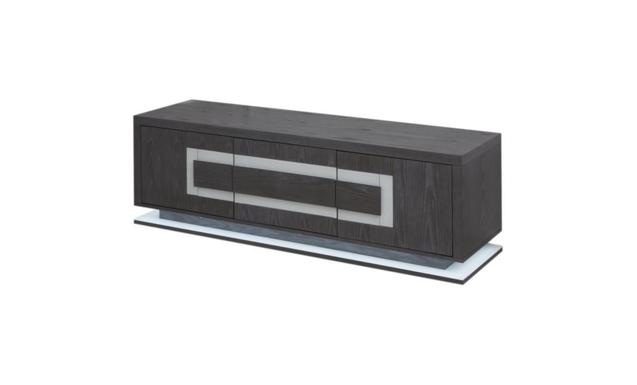Crystal Meuble Tv Led Contemporain Plaqué Gris Mat Insert En Verre Extra Blanc L 160 Cm