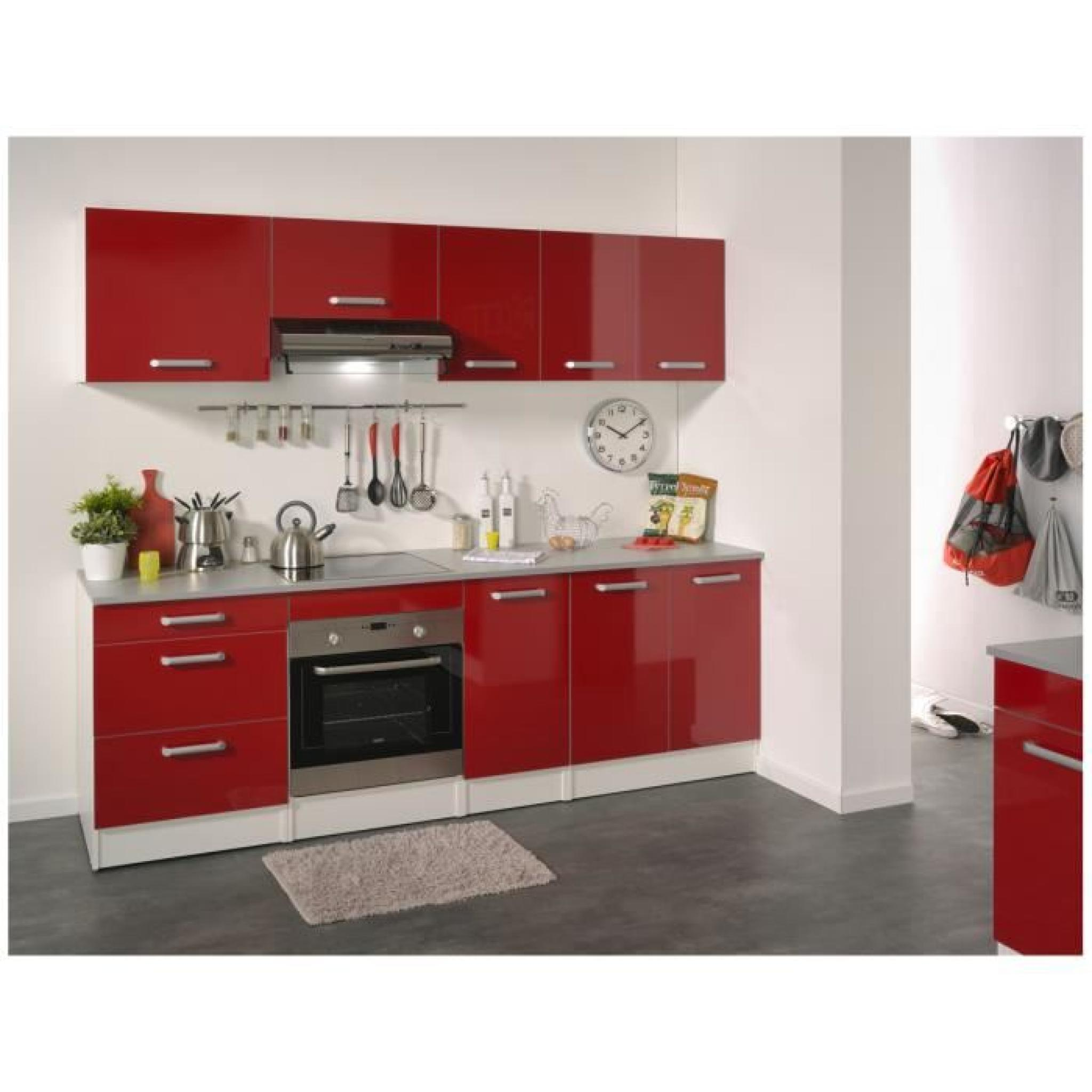 cuisine compl te 240 cm rouge brillant shiny achat vente cuisine complete pas cher couleur. Black Bedroom Furniture Sets. Home Design Ideas