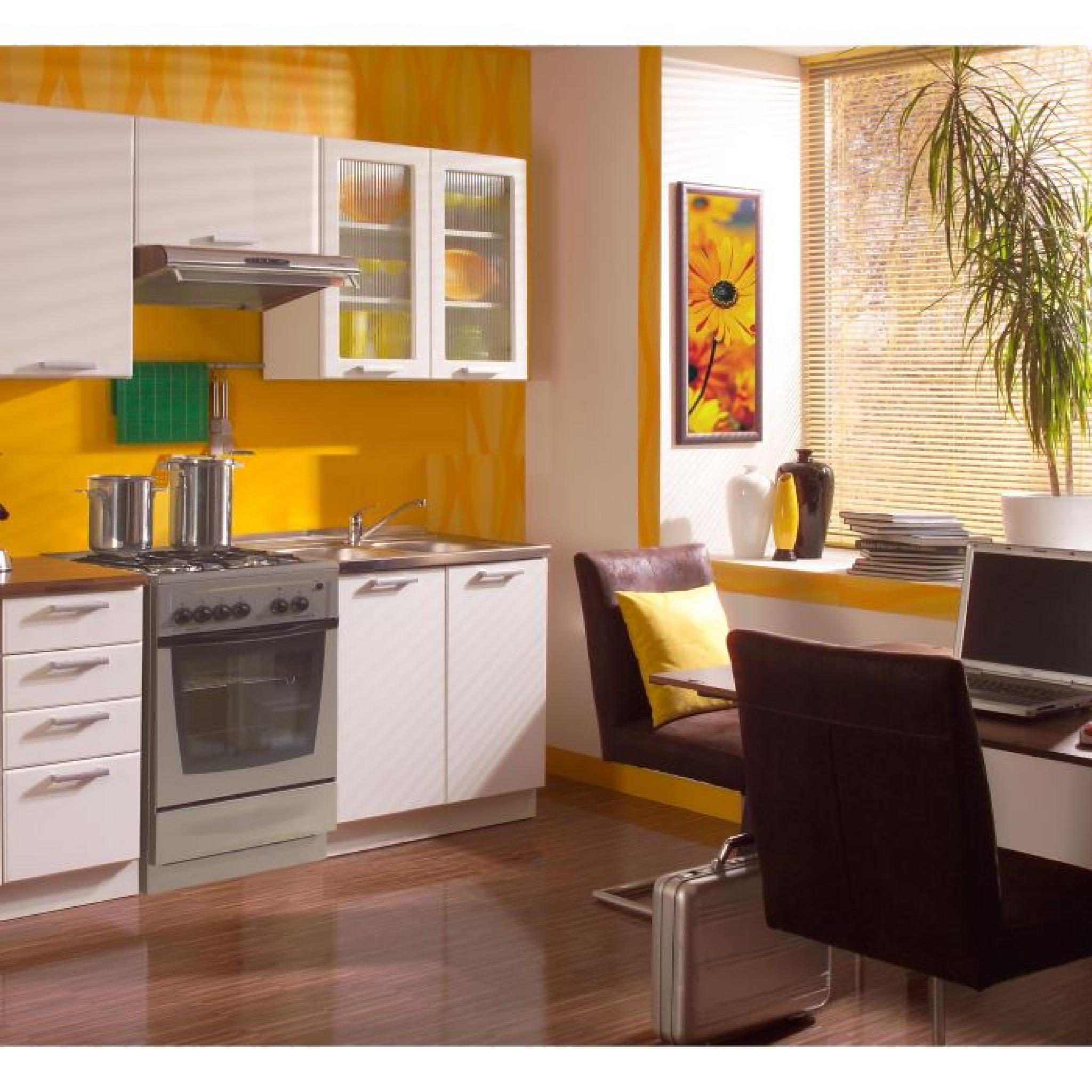 Cuisine compl te rubis blanc laqu 1m80 achat vente - Modele cuisine blanc laque ...