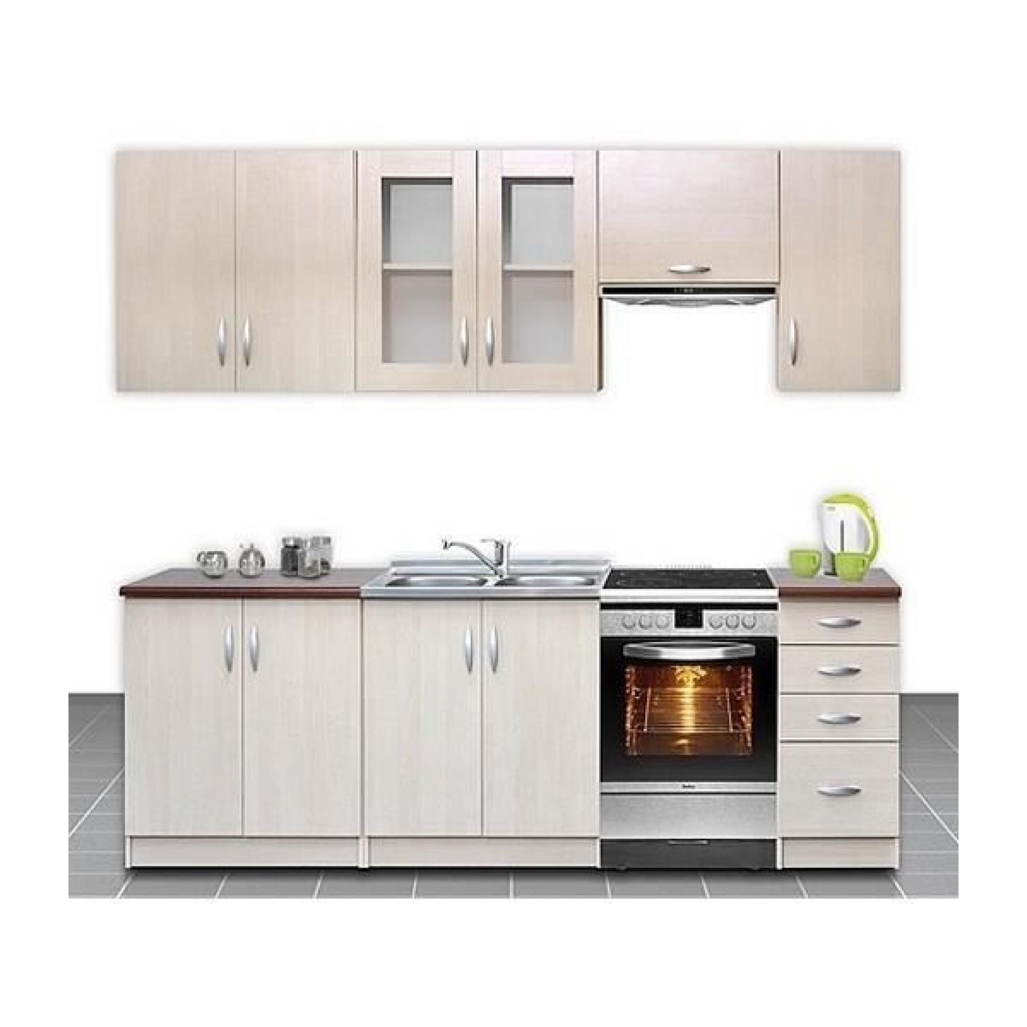 Cuisine compl te 260 cm ocelia bois clair moderne achat vente cuisine complete pas cher for Cuisine complete moderne