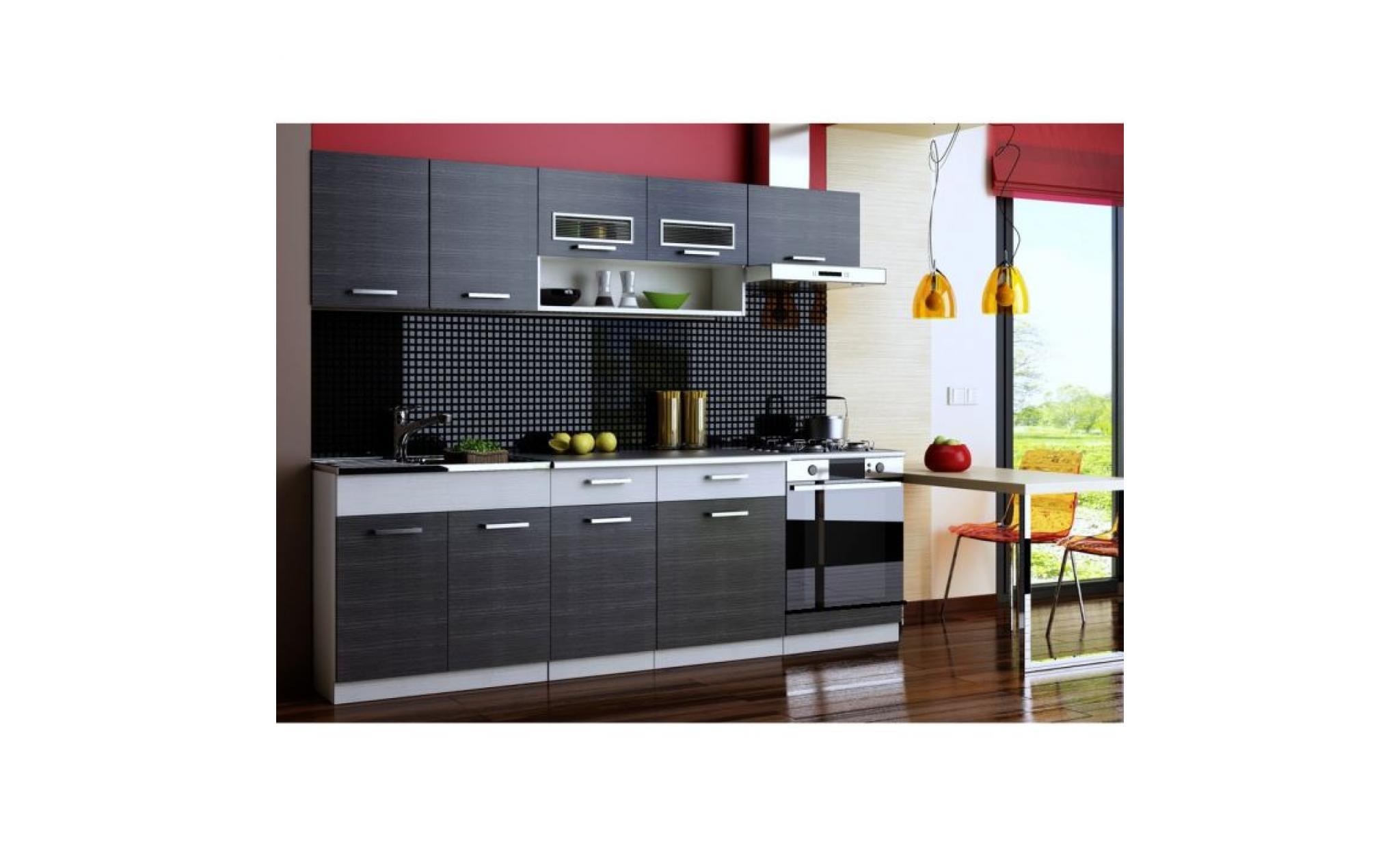 cuisine topaze noir chin gris 7 meubles 2m40 achat vente cuisine complete pas cher. Black Bedroom Furniture Sets. Home Design Ideas