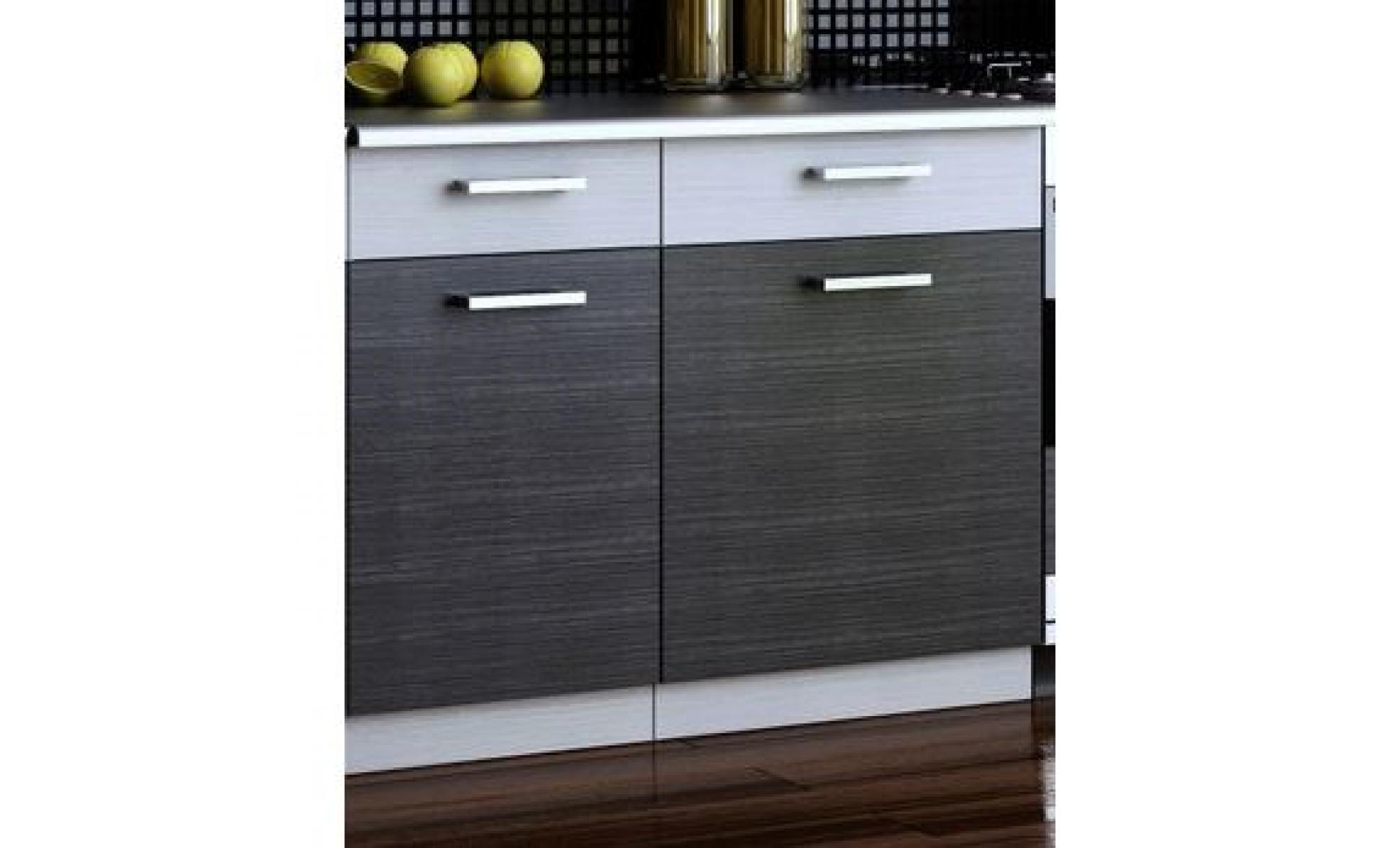 Cuisine topaze noir chin gris 7 meubles 2m40 achat for Meuble chine design