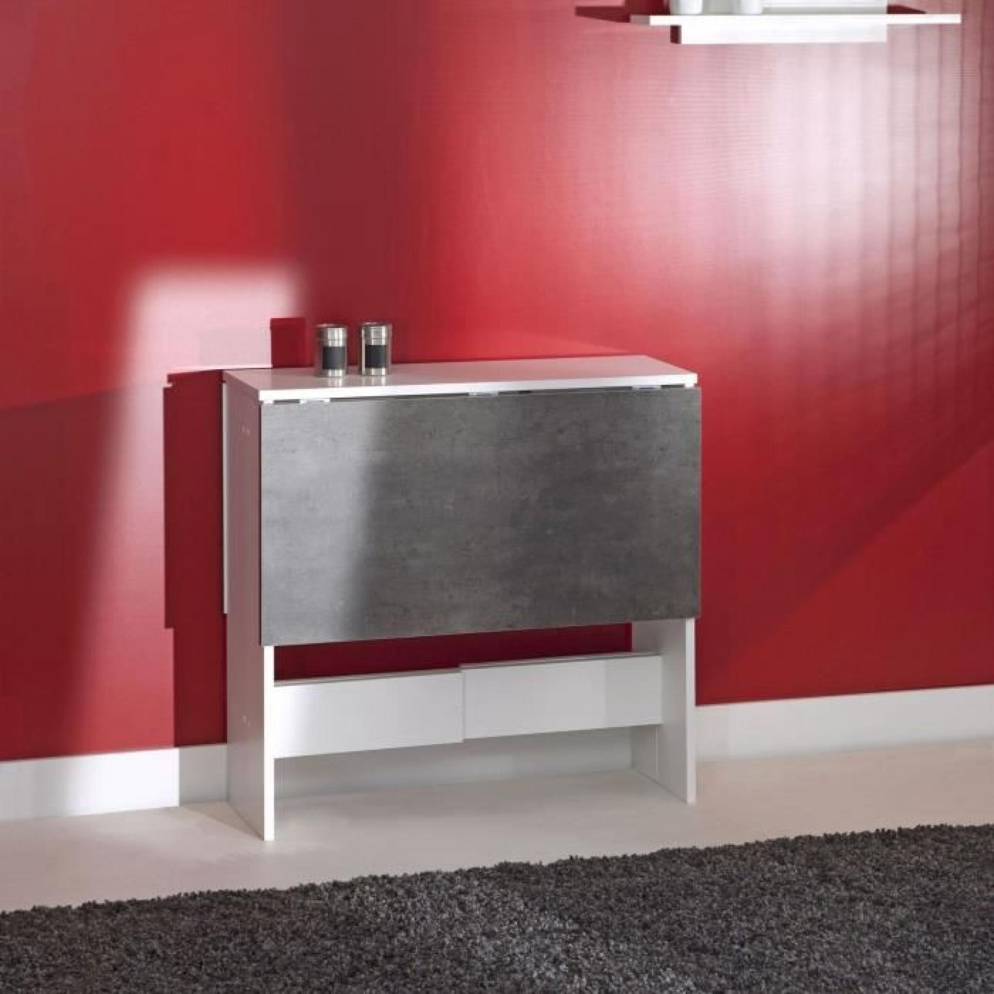 CURRY Table pliante 28/103 cm blanc/béton foncé - Achat/Vente table ...