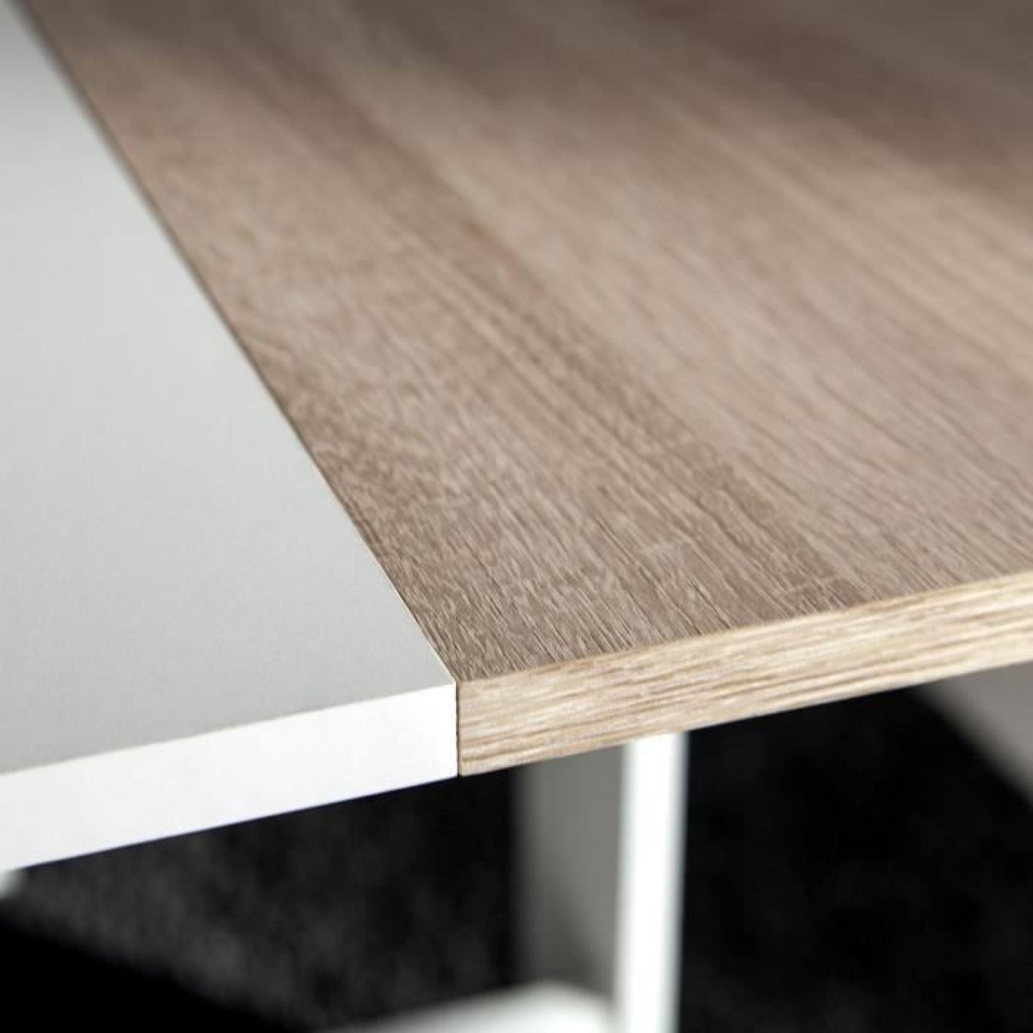 CURRY Table pliante 28 103 cm blanc chªne naturel Achat Vente