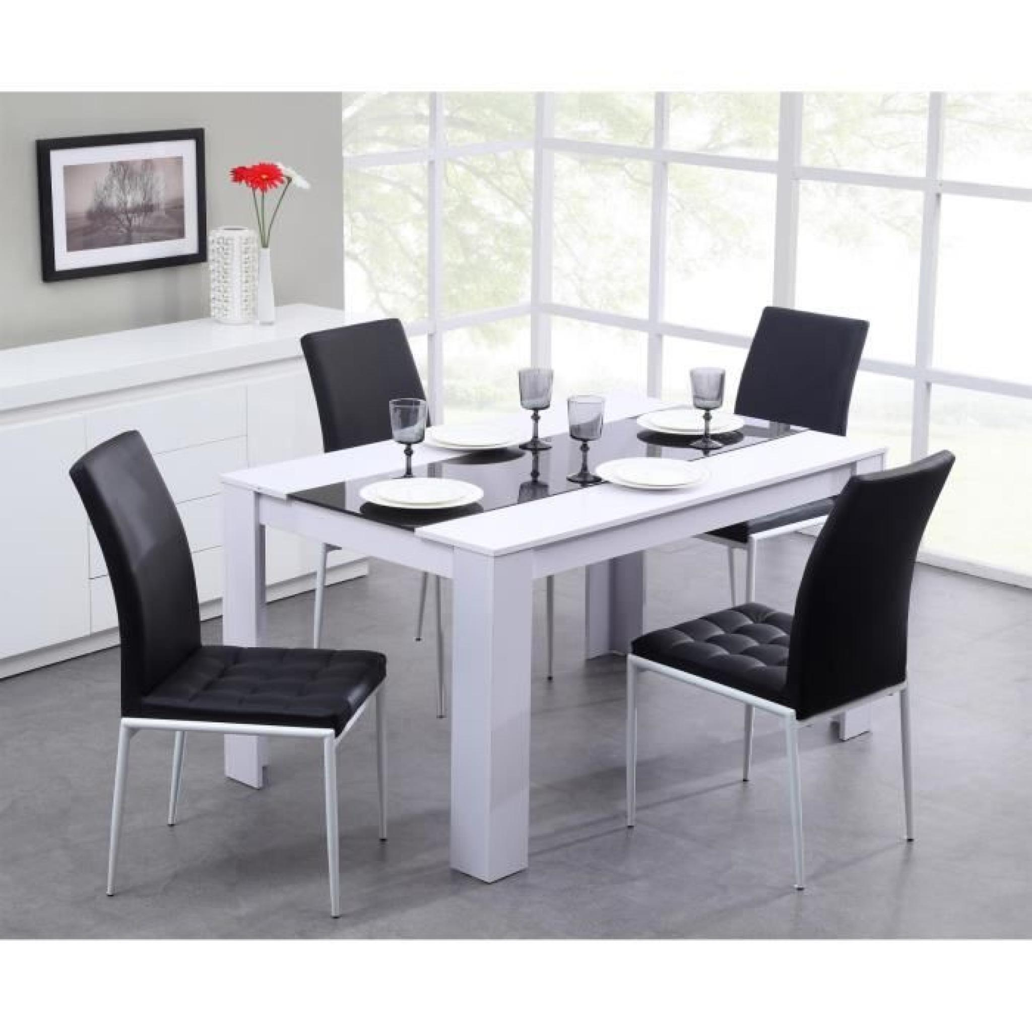 Damia table manger 140x90cm noir et blanc achat vente - Dimensions table a manger ...