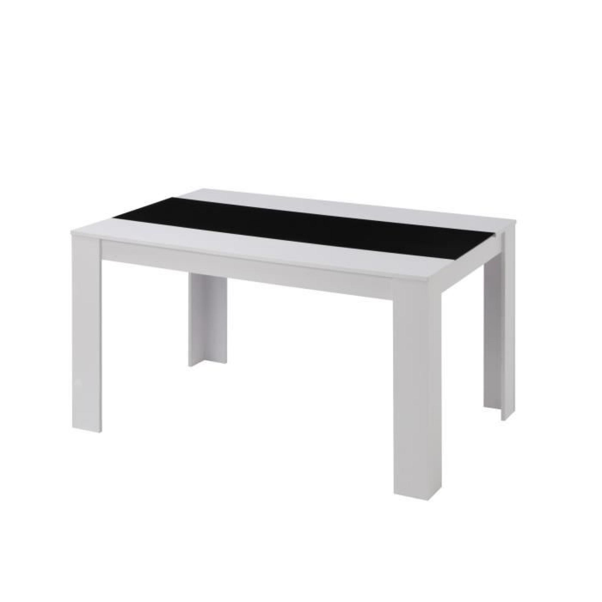 Damia table manger 140x90cm noir et blanc achat vente for Ensemble buffet table manger