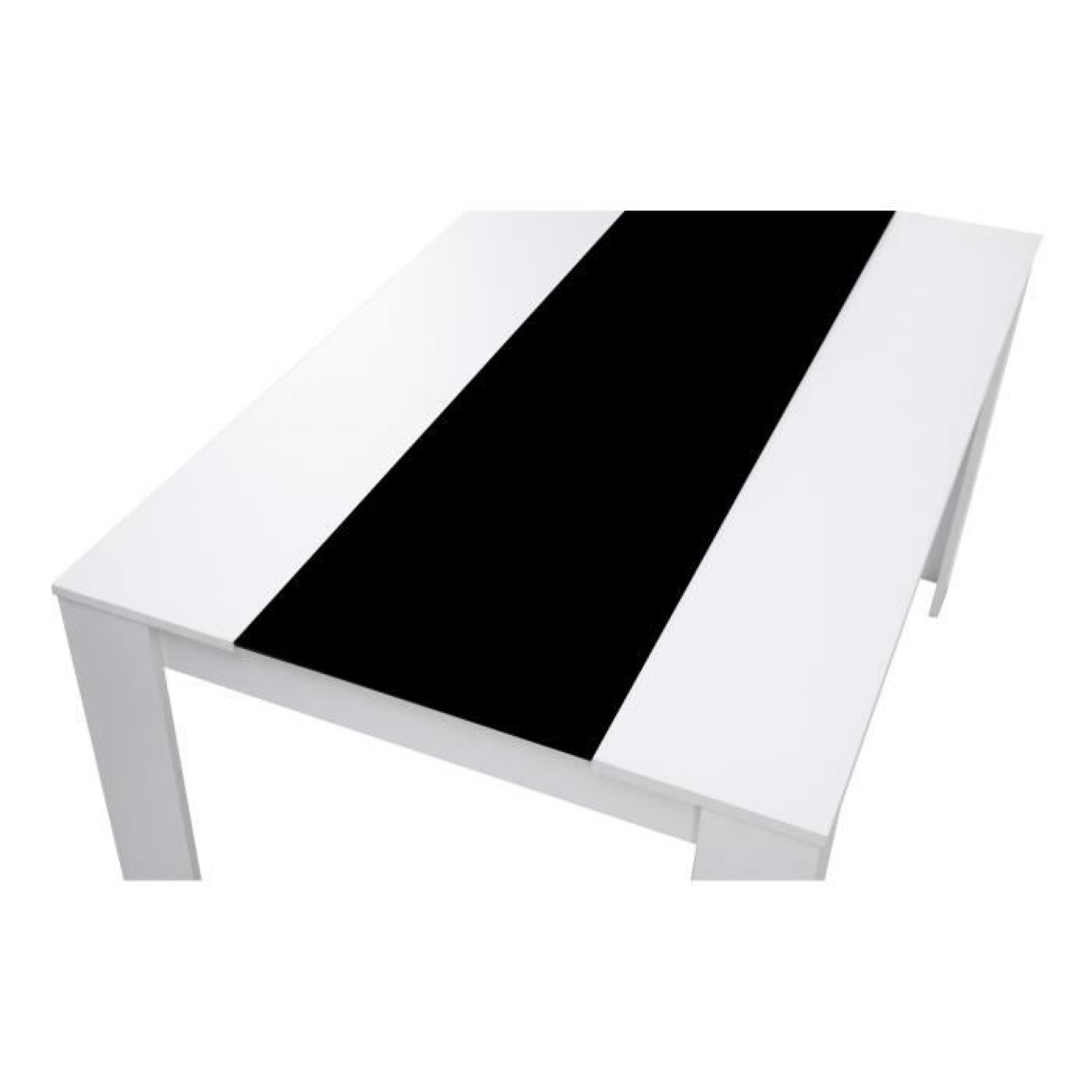 Damia table manger 140x90cm noir et blanc achat vente for Table a manger et buffet