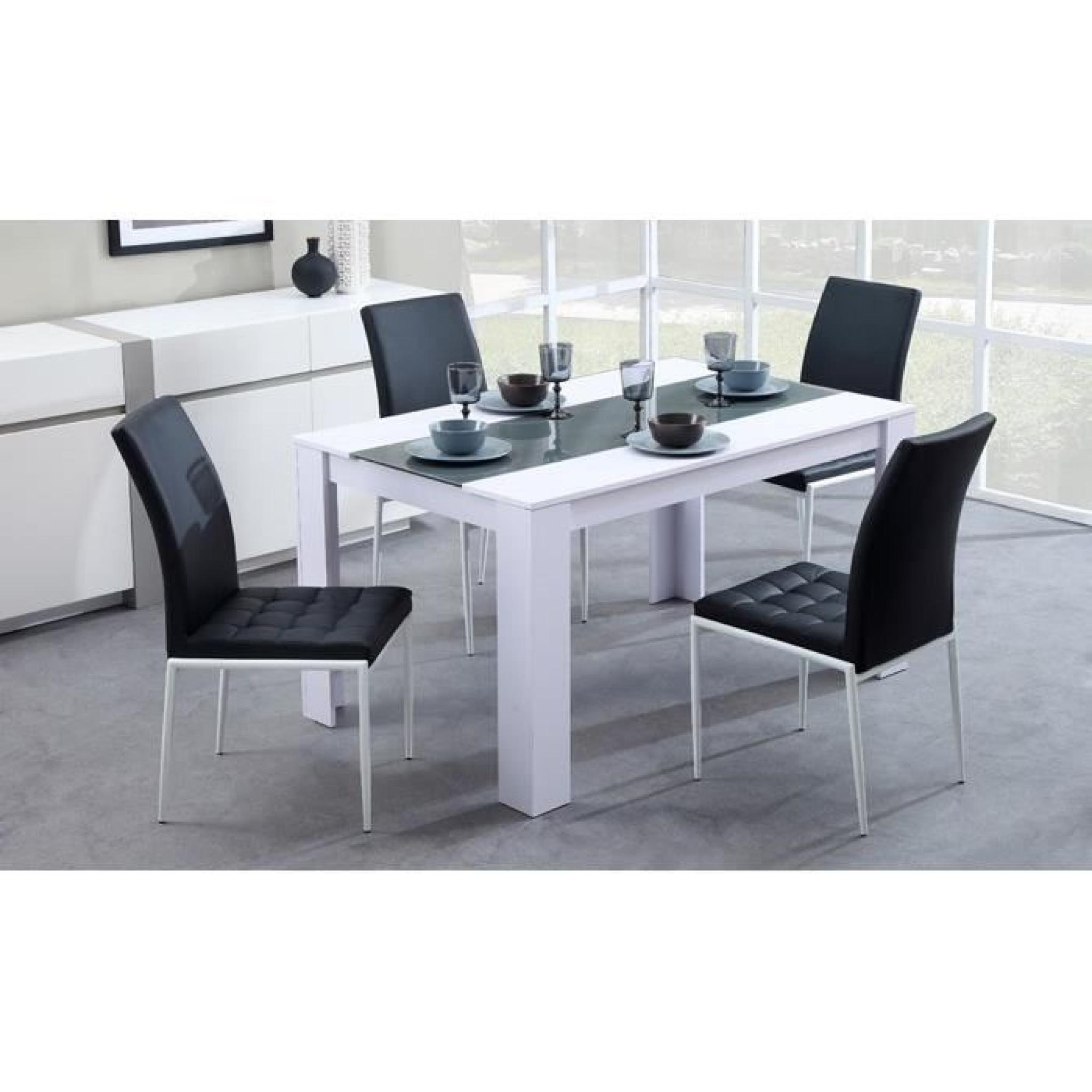 DAMIA Table de séjour 140 cm blanc/gris