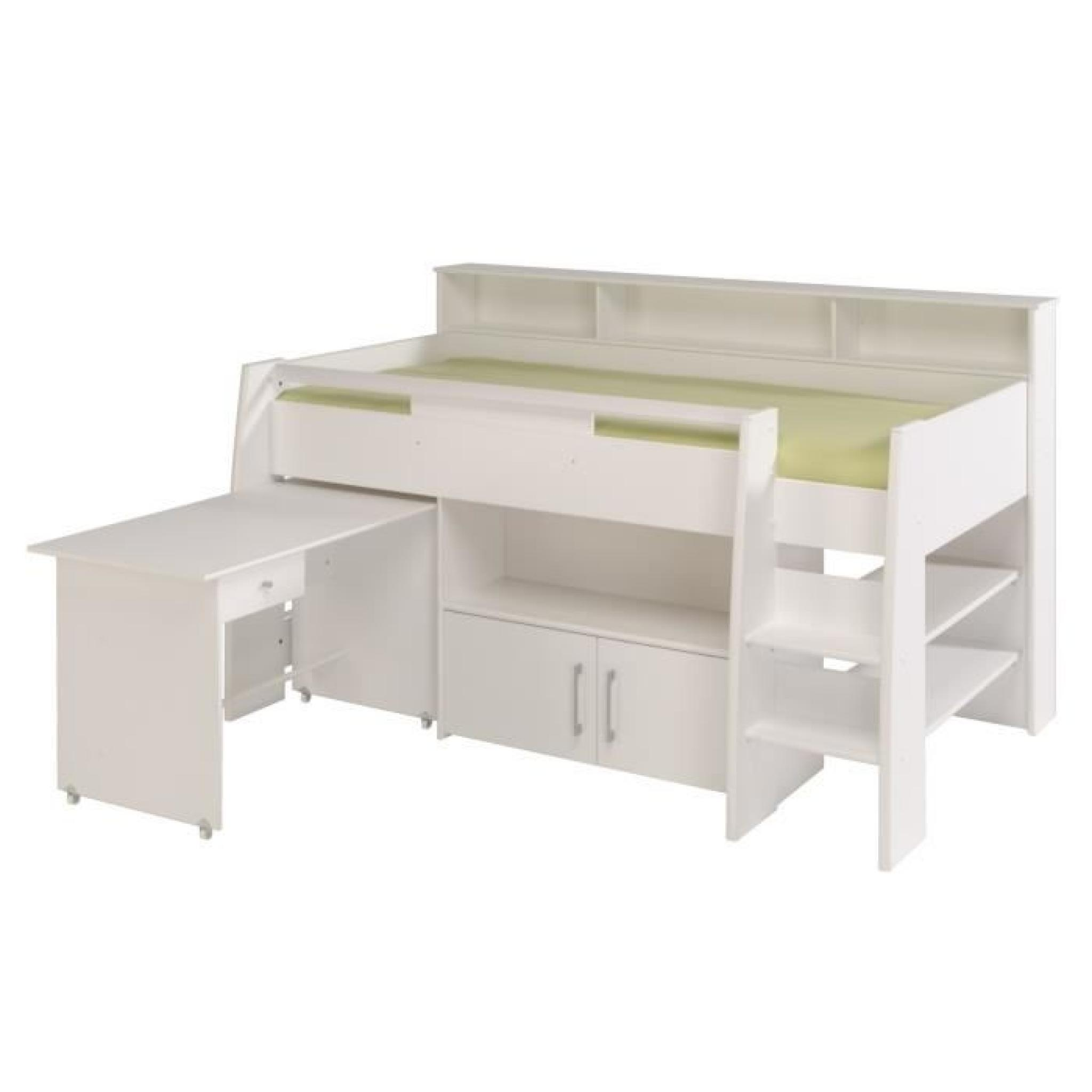 dave lit combin 90cm bureau rangement blanc achat. Black Bedroom Furniture Sets. Home Design Ideas