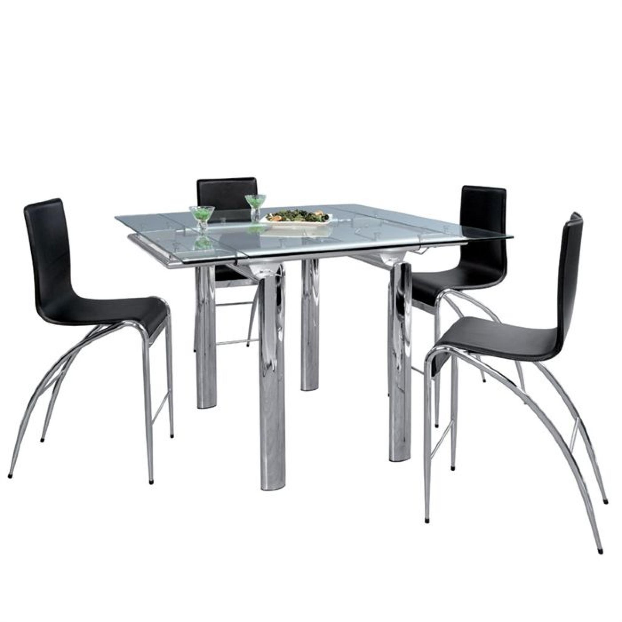 Ditta table manger haute chrome verre achat vente for Salle a manger table haute