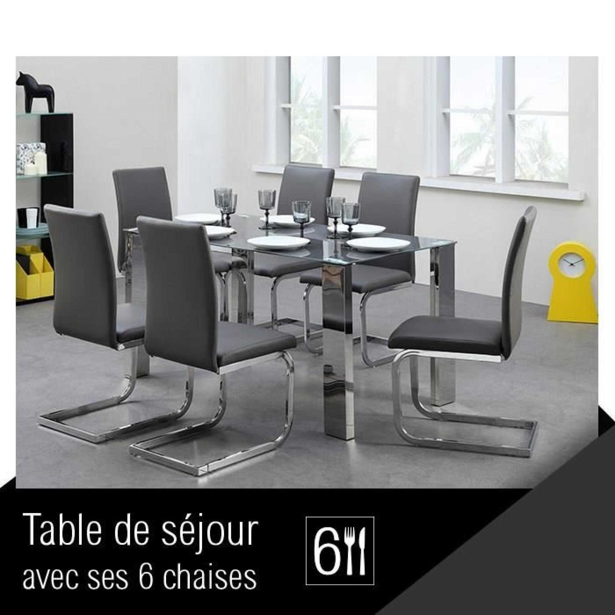 divine ensemble table manger 6 chaises en pvc gris achat vente table salle a manger pas. Black Bedroom Furniture Sets. Home Design Ideas