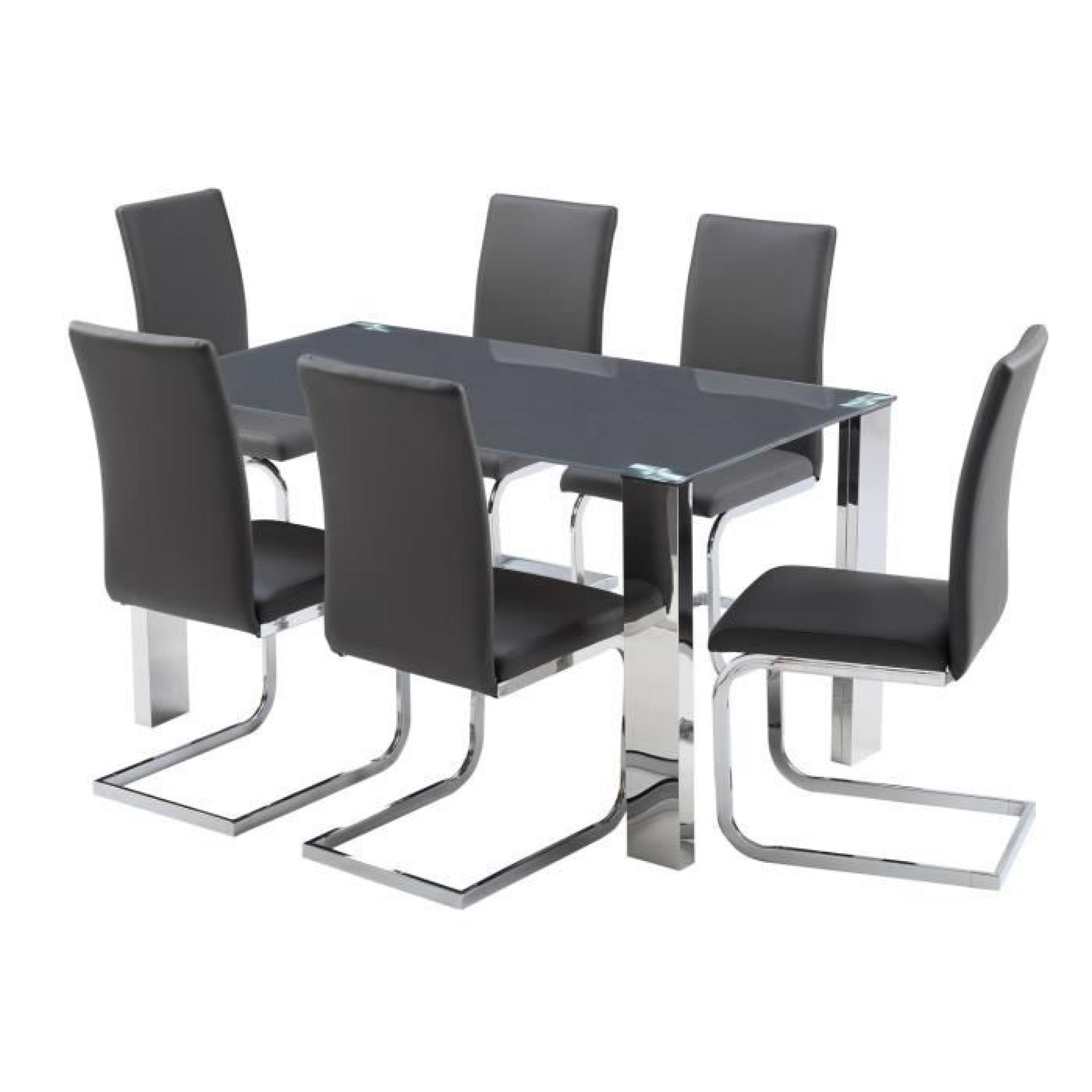 Divine ensemble table manger 6 chaises en pvc gris for Ensemble table salle a manger chaises