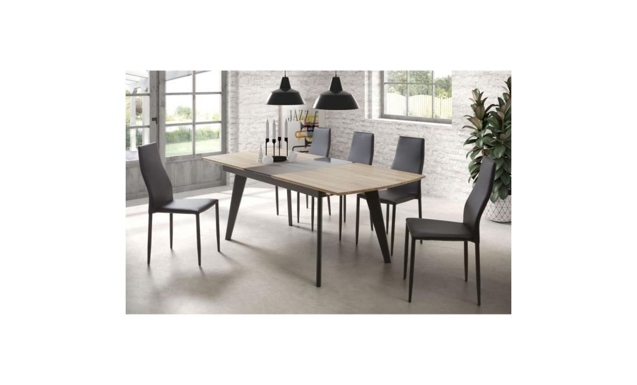Table A Manger Extensible Pas Cher.Donna Table A Manger Extensible De 6 A 8 Personnes Industriel Aspect Bois Et Noir Verni L 160 200 X L 90 Cm