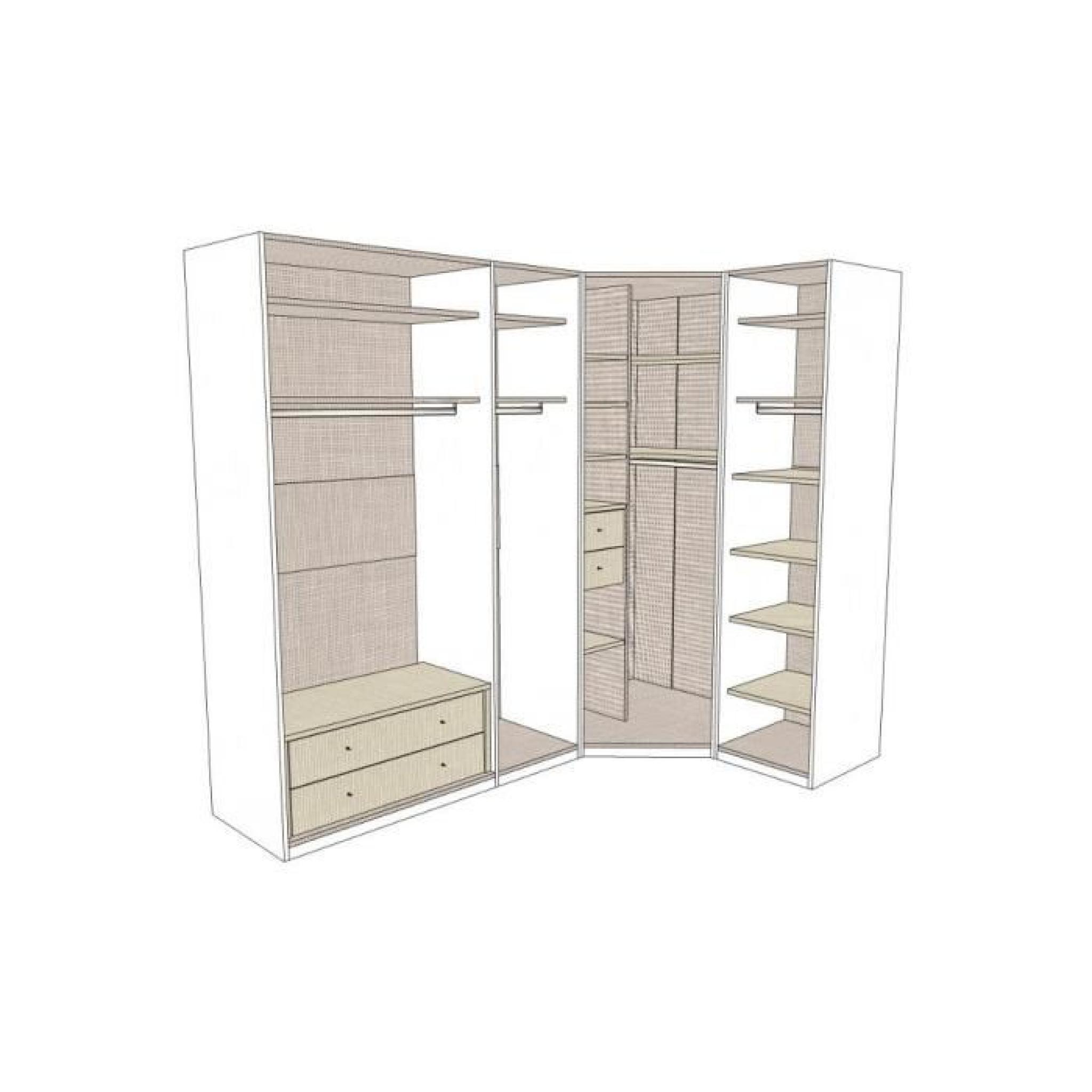 dressing d 39 angle solano l197 x l197 x h220 bois achat vente dressing pas cher couleur et. Black Bedroom Furniture Sets. Home Design Ideas