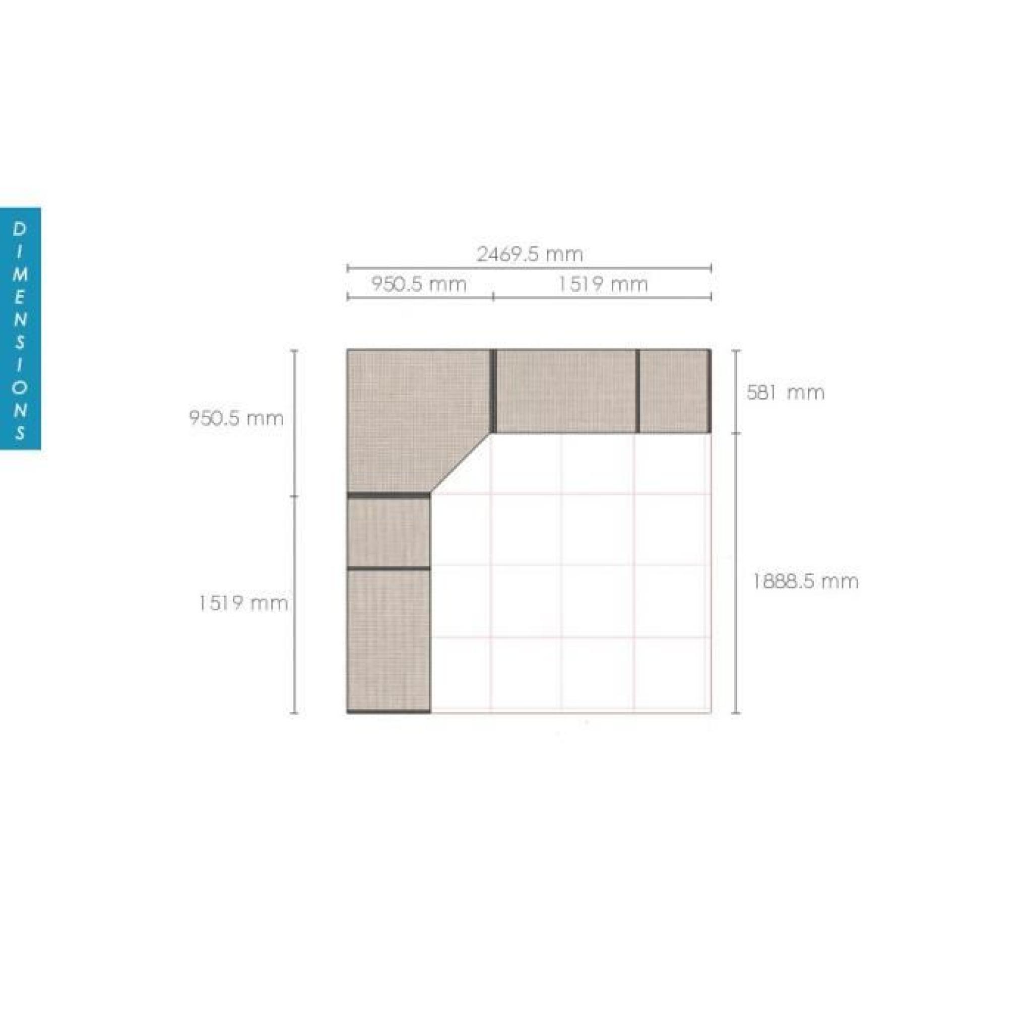 dressing d 39 angle solano l247 x l247 x h220 mixtes achat vente dressing pas cher couleur et. Black Bedroom Furniture Sets. Home Design Ideas