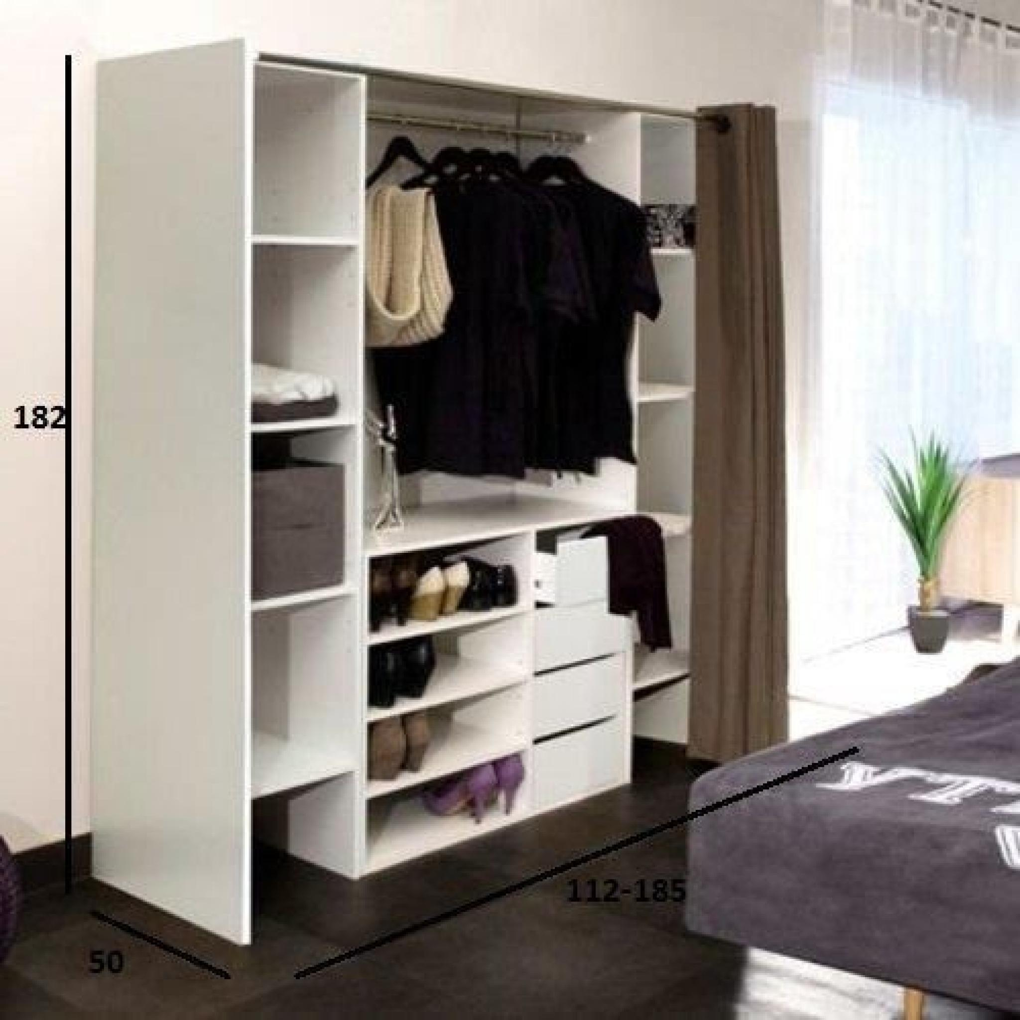 dressing extensible chica 2 colonnes 4 tiroirs blanc b ton avec rideau anthracite achat. Black Bedroom Furniture Sets. Home Design Ideas