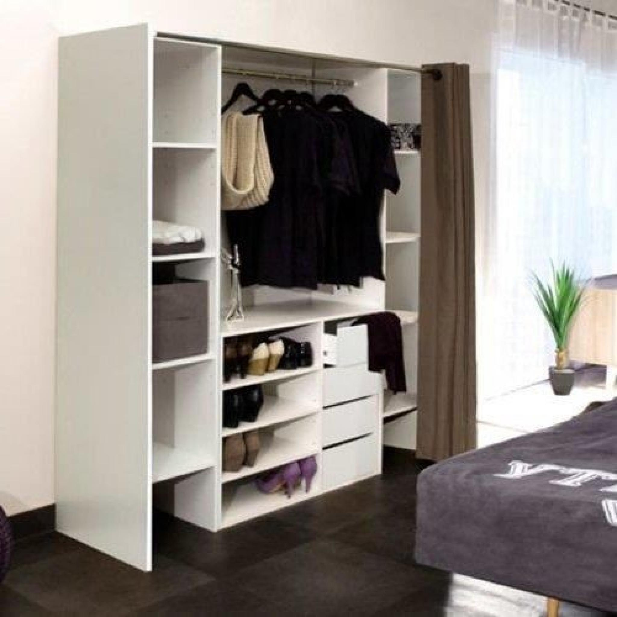 dressing extensible chica 2 colonnes 4 tiroirs blanc avec rideau anthracite achat vente. Black Bedroom Furniture Sets. Home Design Ideas