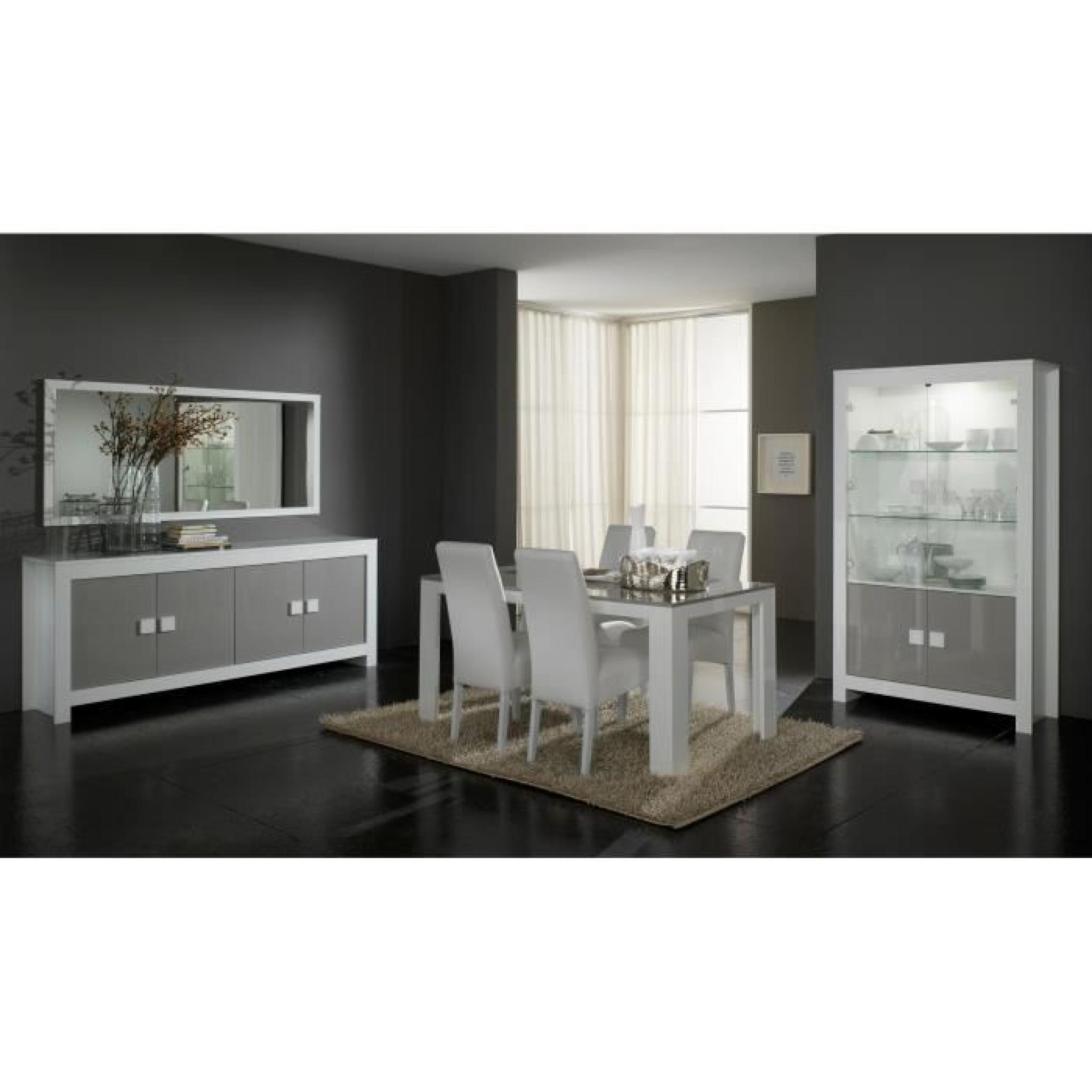 Dressoir ultra design blanc et gris laqu 4 portes for Buffet cuisine gris laque