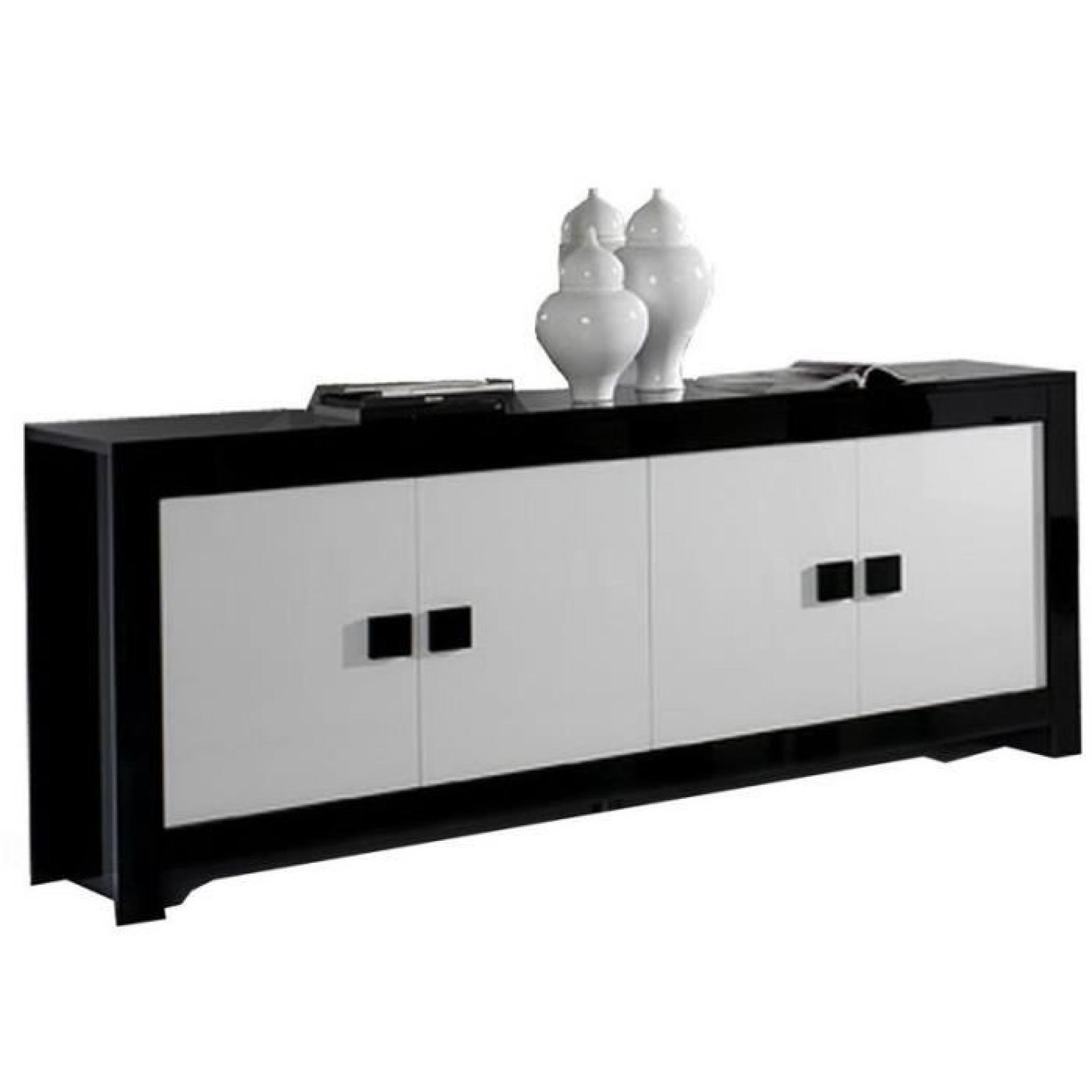 Dressoir ultra design noir et blanc laqu 4 portes for Meuble 4 portes noir laque