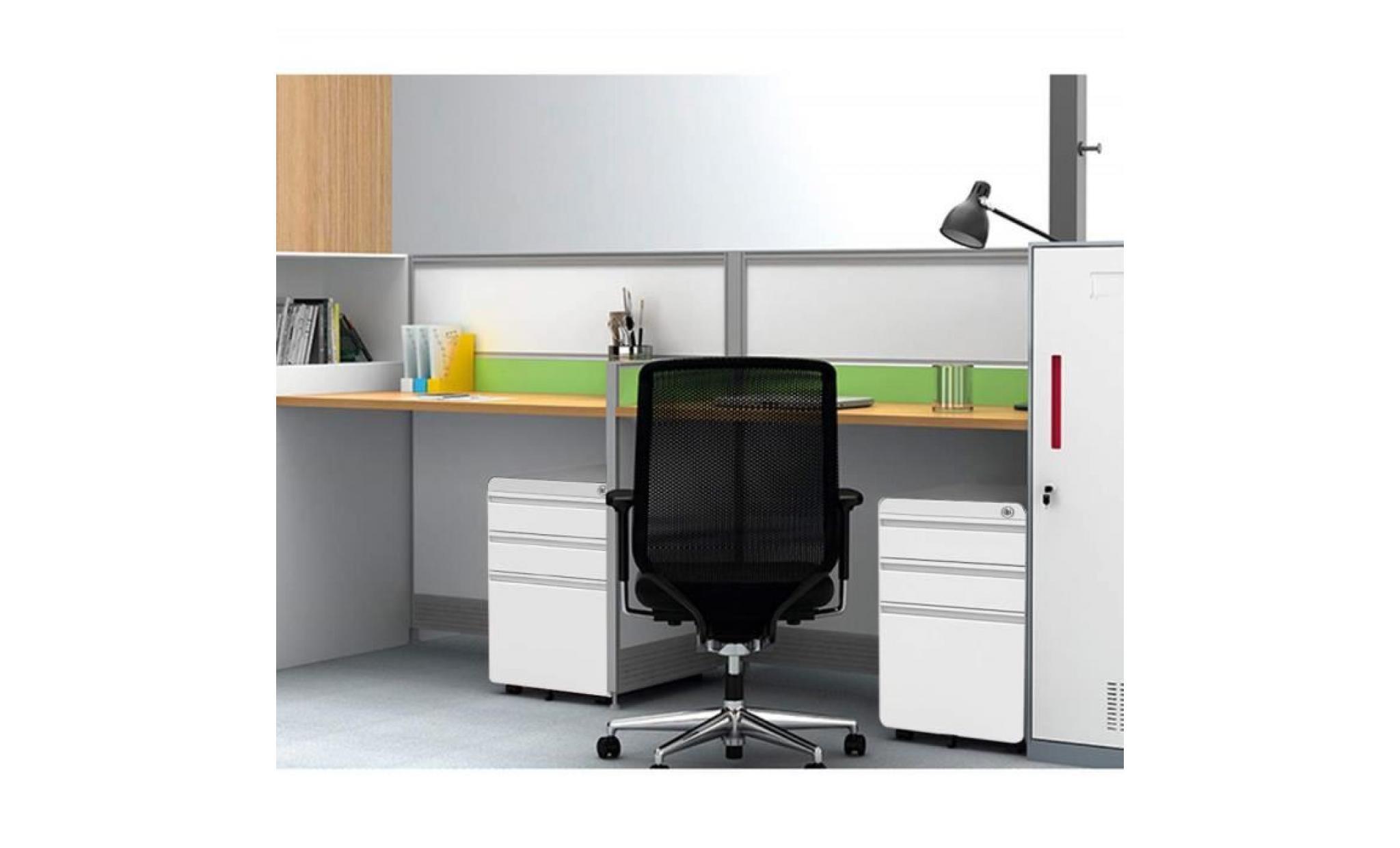 dripex caisson de bureau à roulette 3 tiroirs rangement meuble verrouillable classeur en métal 5 ...