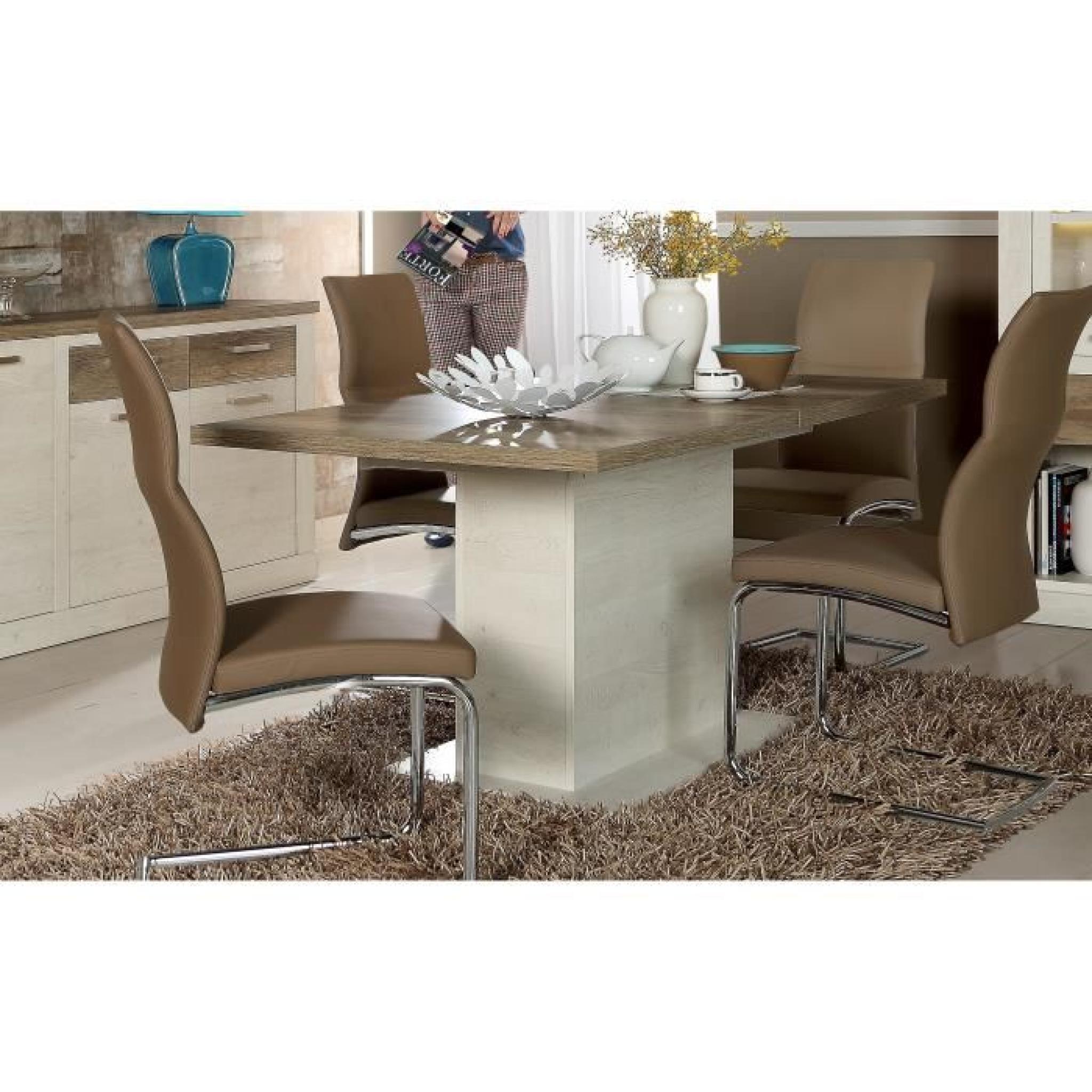 Extensible Pin Marron Duro Et Table 160 200x77cm Blanc Décor wmN80n