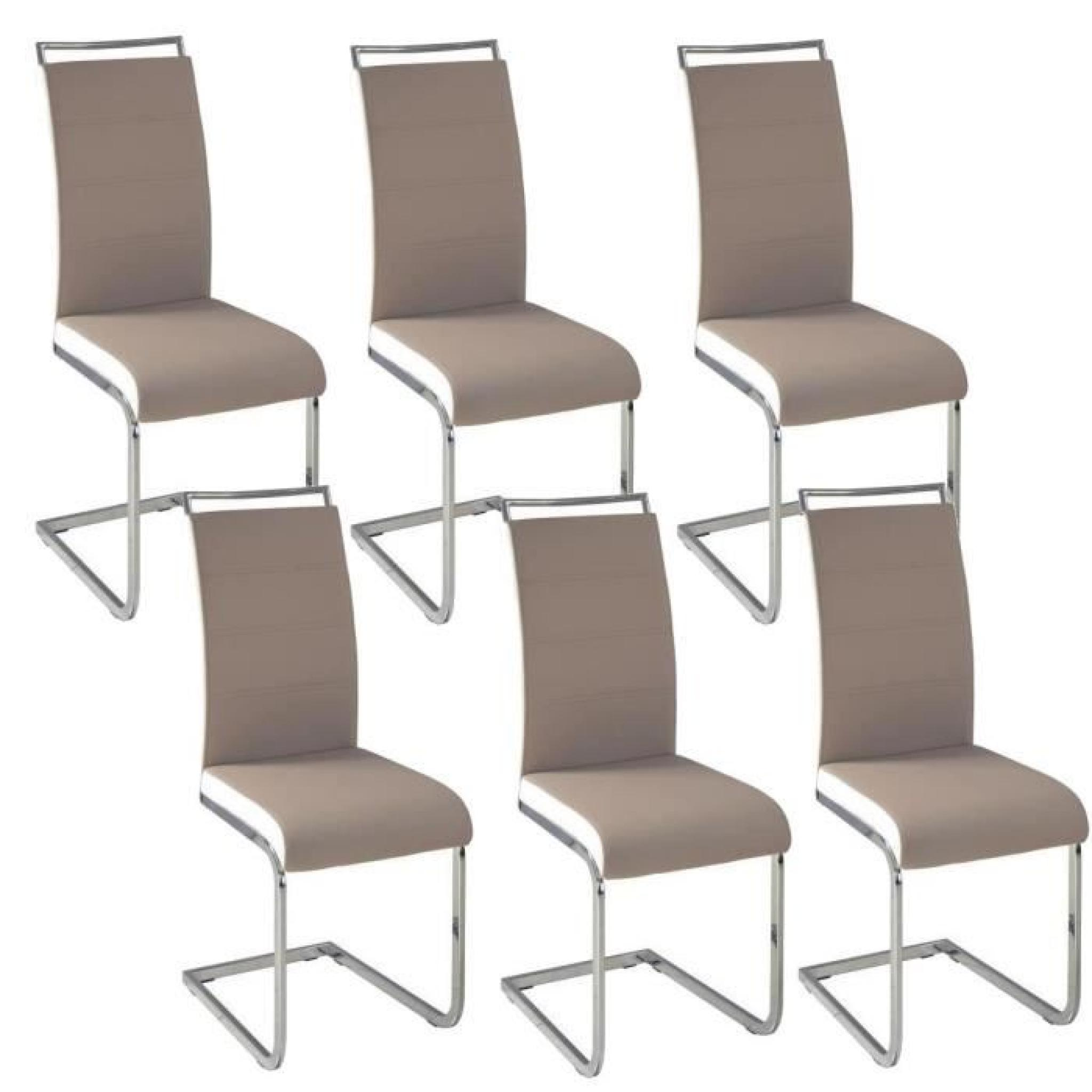 dylan lot de 6 chaises salon taupe blanc achat vente. Black Bedroom Furniture Sets. Home Design Ideas