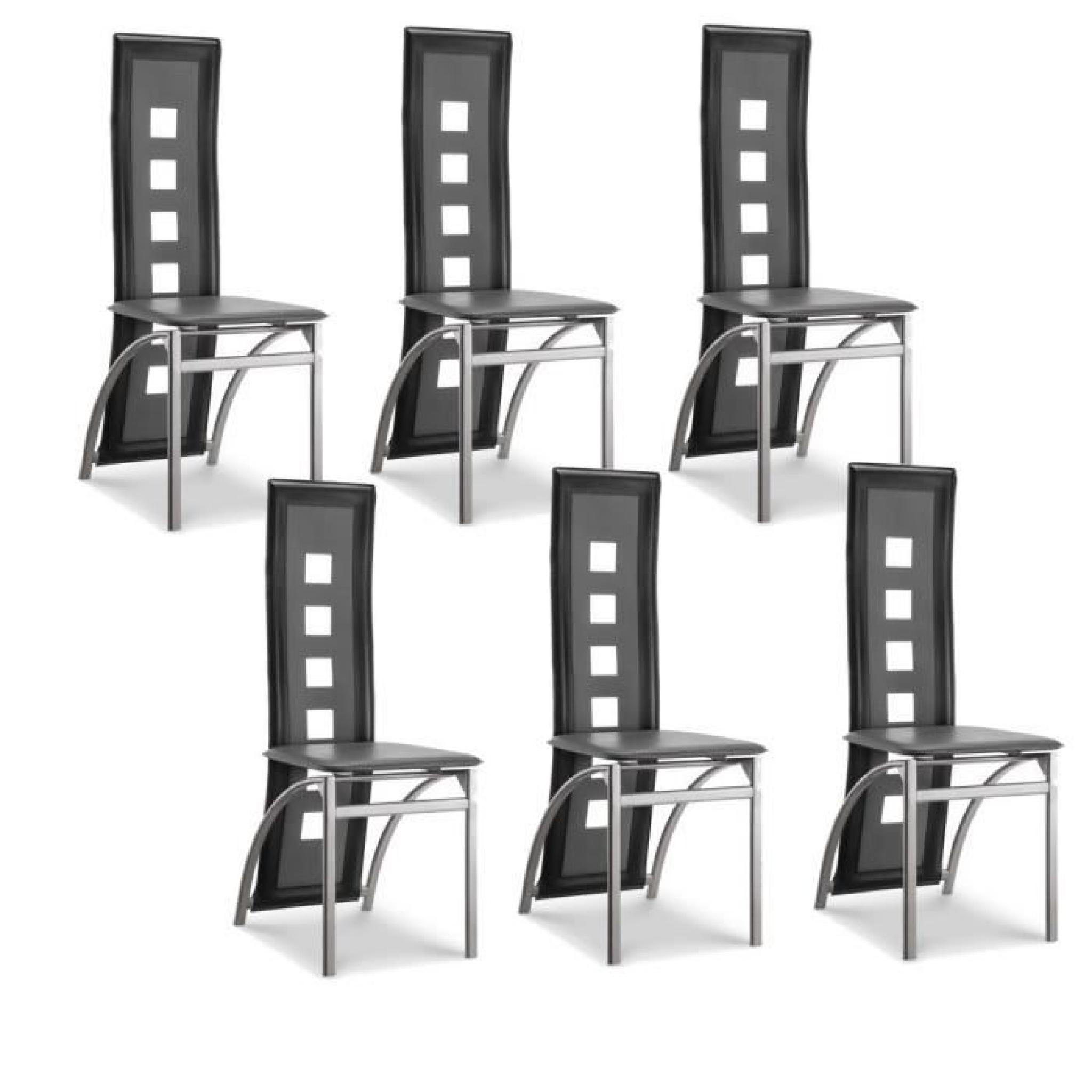 eiffel lot de 6 chaises de salle manger noires et. Black Bedroom Furniture Sets. Home Design Ideas