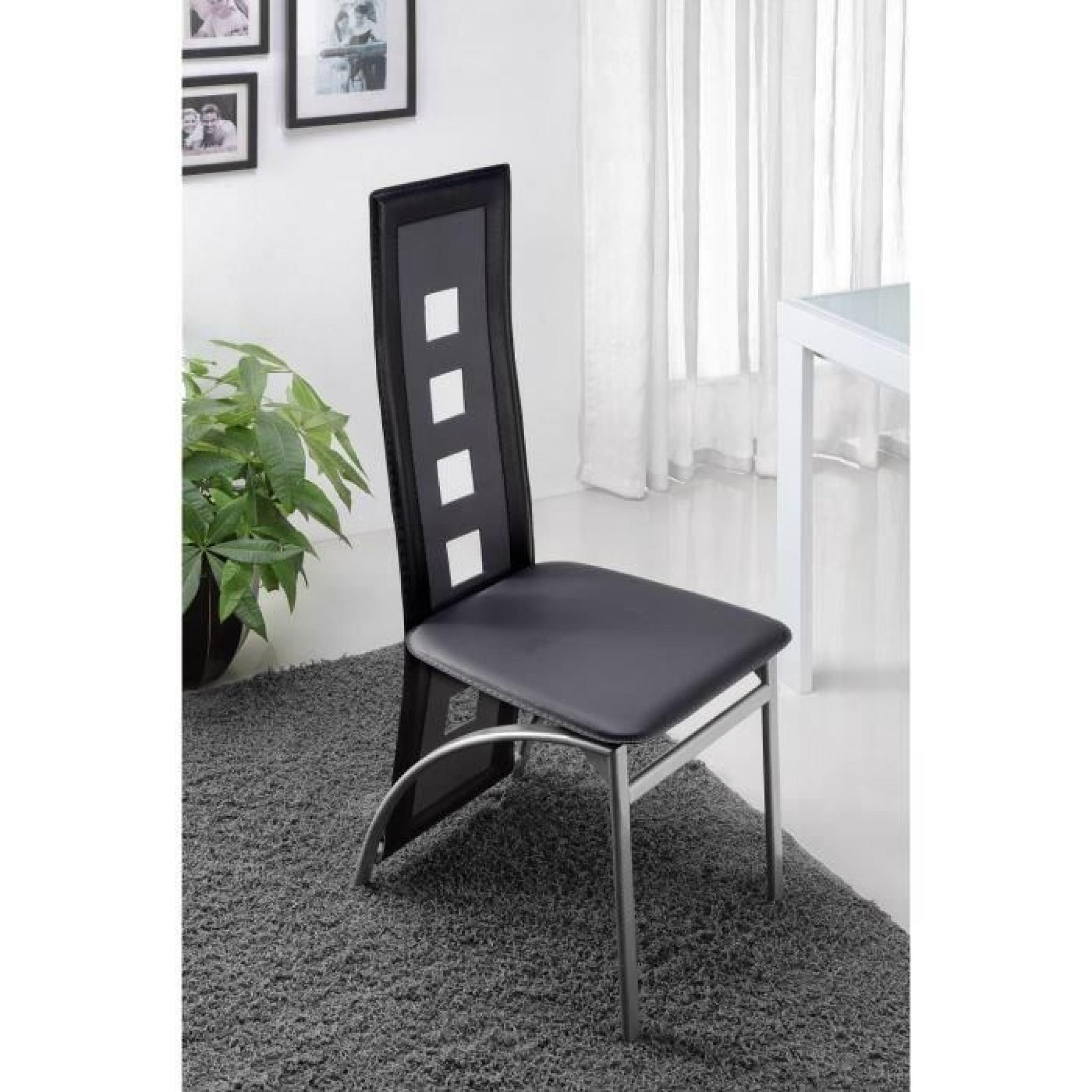 eiffel lot de 6 chaises de salle manger noires et blanches simili et aluminium design. Black Bedroom Furniture Sets. Home Design Ideas