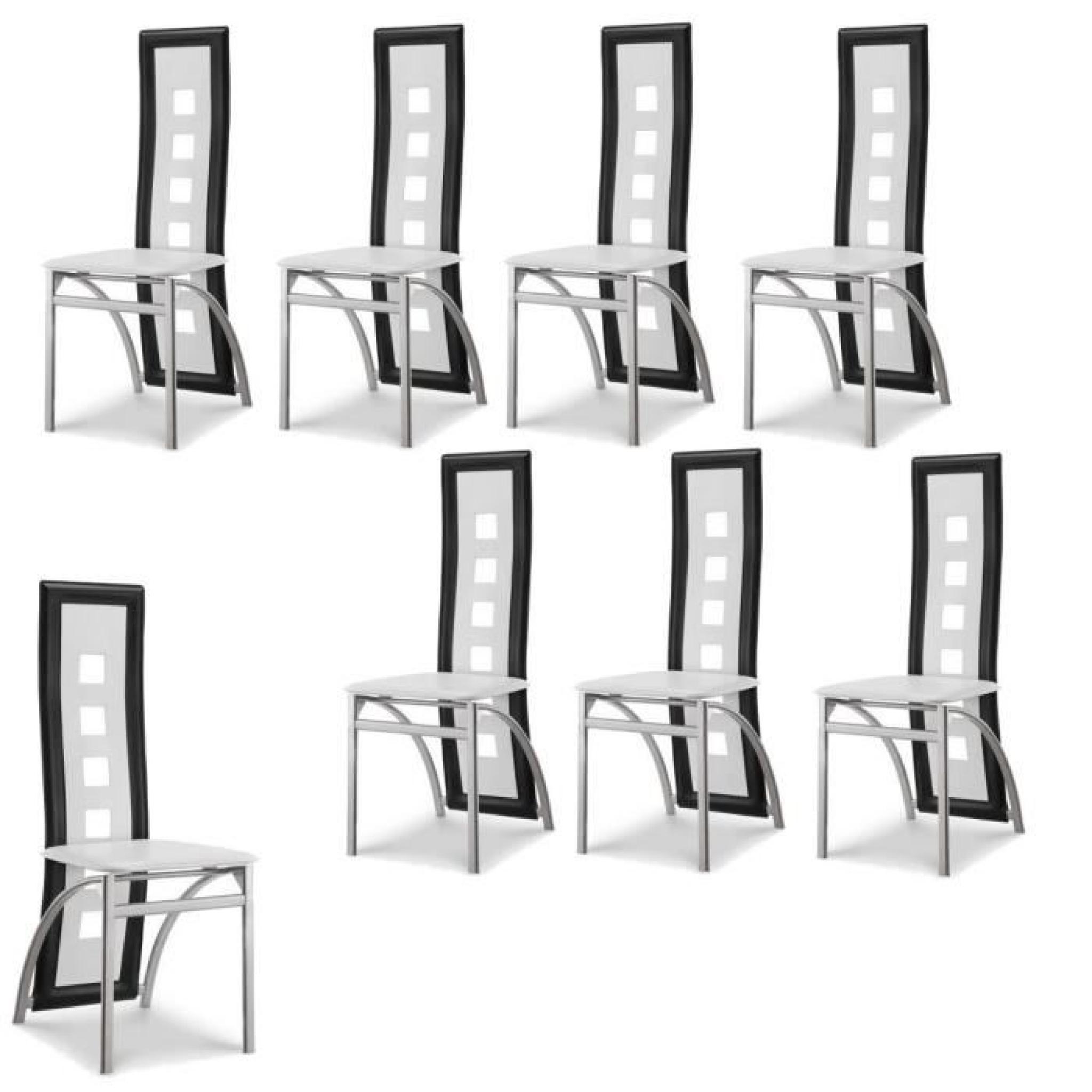 eiffel lot de 8 chaises de salle manger noires et blanches simili et aluminium design. Black Bedroom Furniture Sets. Home Design Ideas
