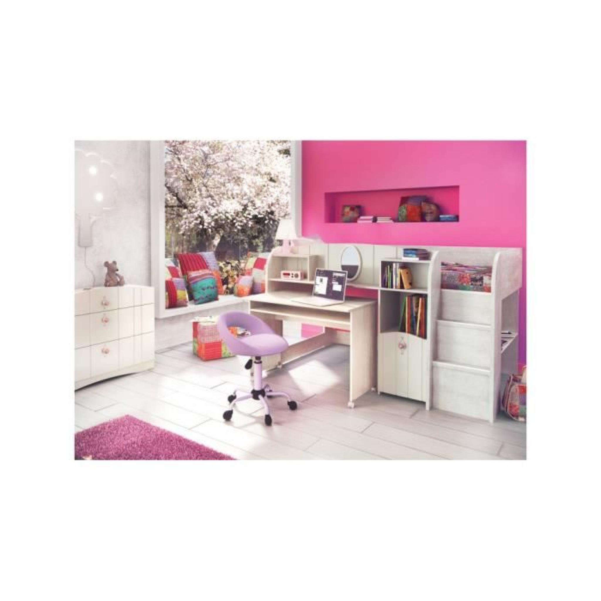 ensemble chambre enfant lit mi hauteur bureau rangements blanc cass achat vente lit. Black Bedroom Furniture Sets. Home Design Ideas