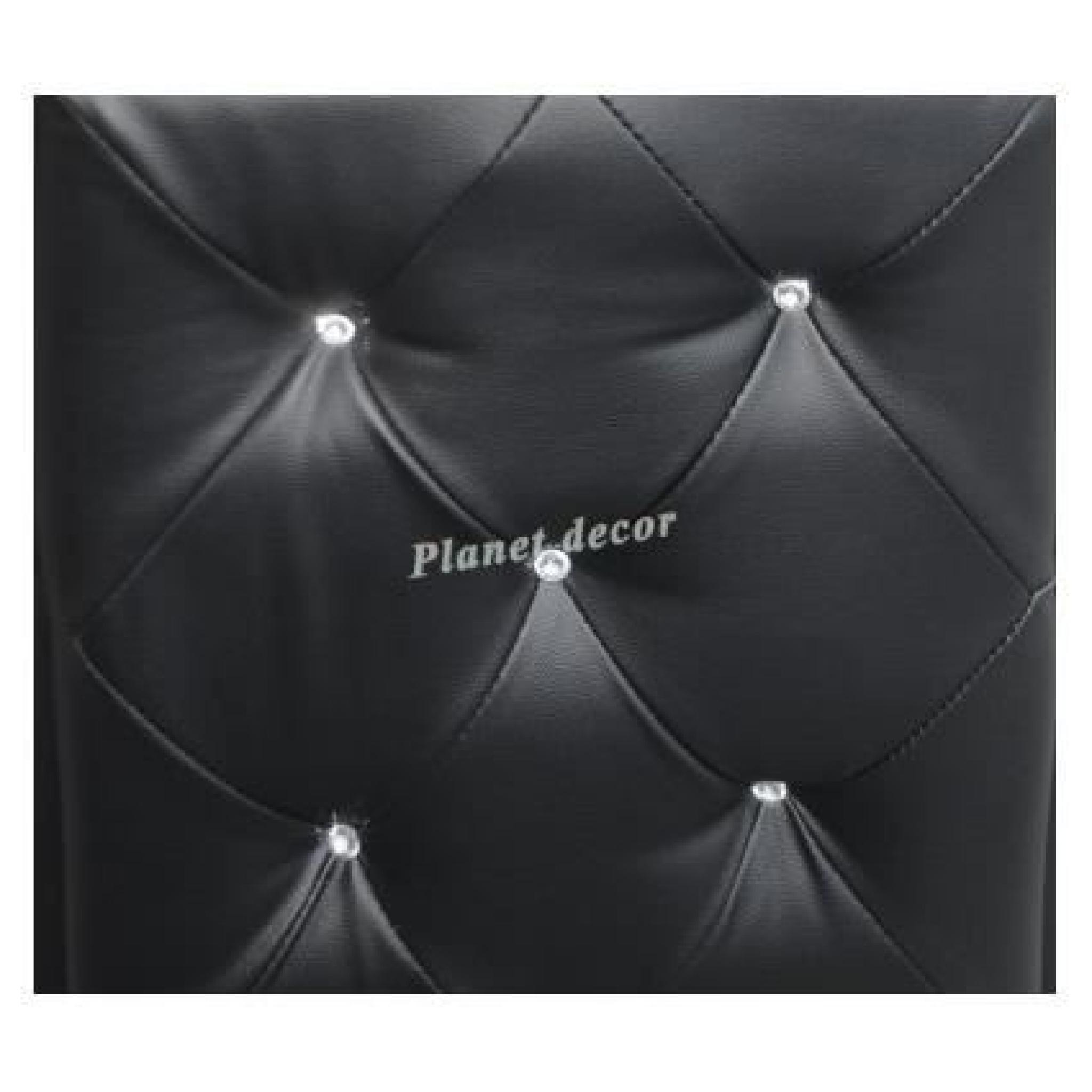 ensemble commode et miroir similicuir coloris noir avec strass astana pas cher - Miroir Mural Blanc Simili Cuir Strass