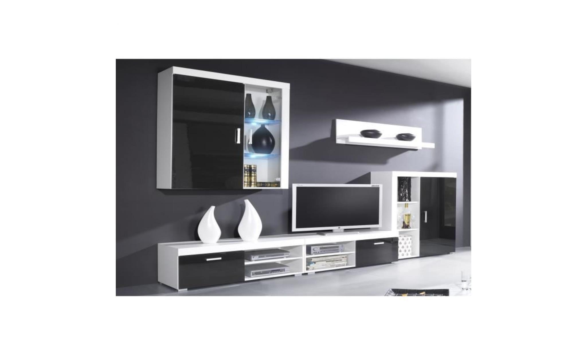 laquédimensions250x194x42 profondeur meubles avec mate de et ensemble séjour ensemble de ledsblanc cm de blanc qzUVMGLSp
