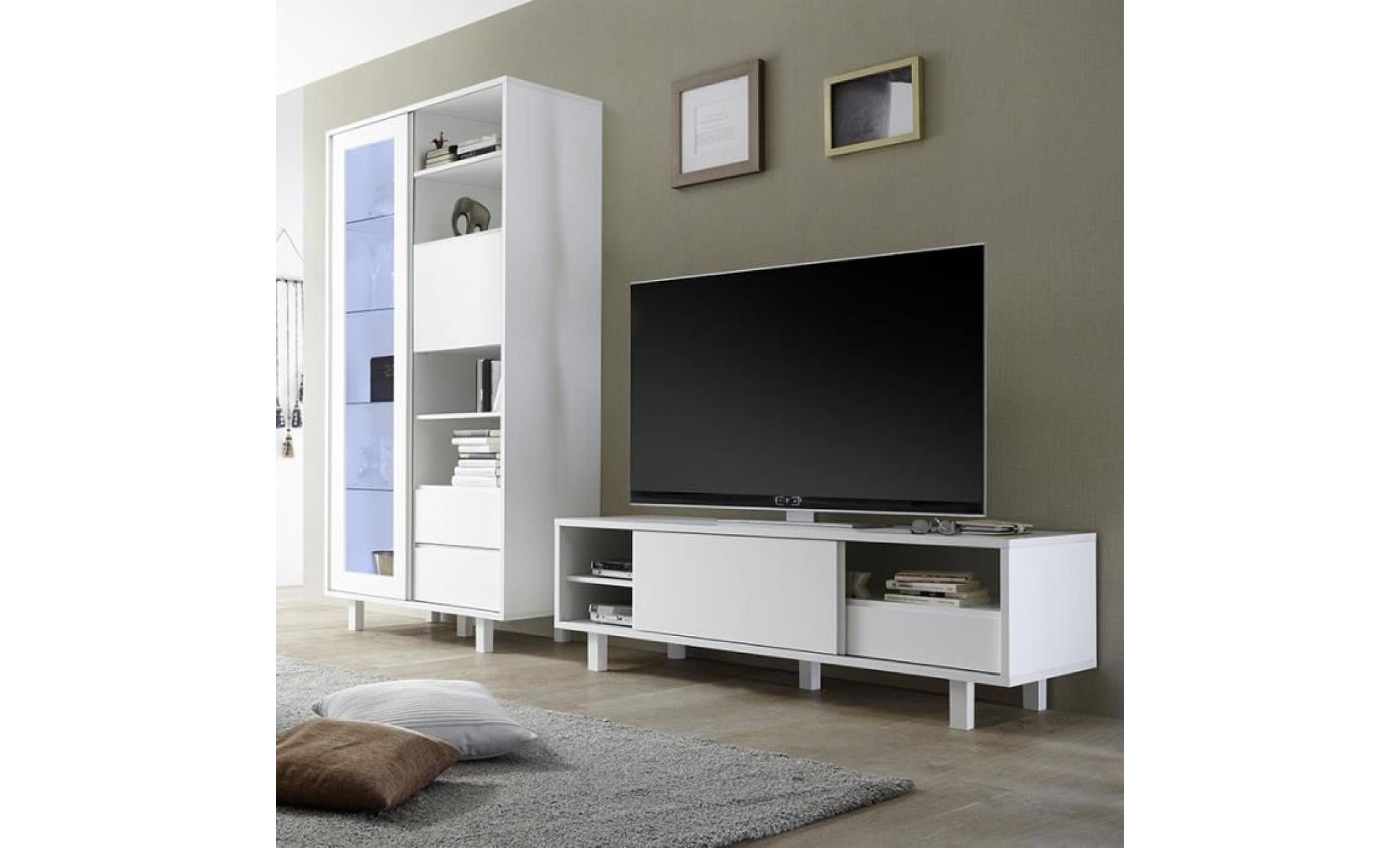 Ensemble Meuble Tv Design Blanc Laque Palazio Sans Eclairage Achat Vente Meuble Tv Pas Cher Couleur Et Design Fr