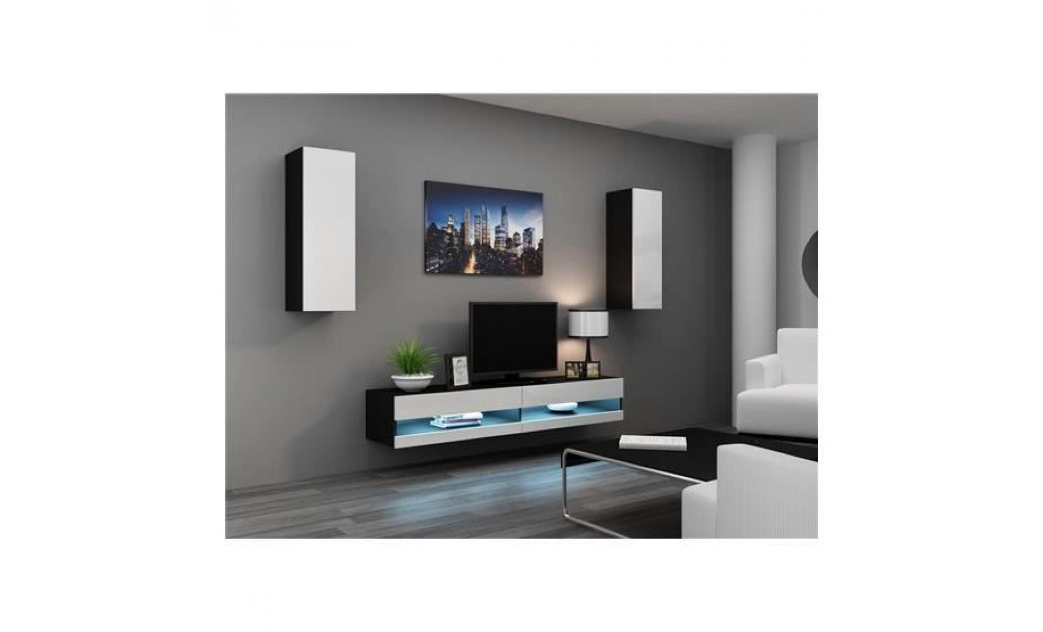 Ensemble Meuble Tv Design Valor Noir Et Blanc Achat Vente Meuble  # Meuble Tv Design Noir Et Blanc