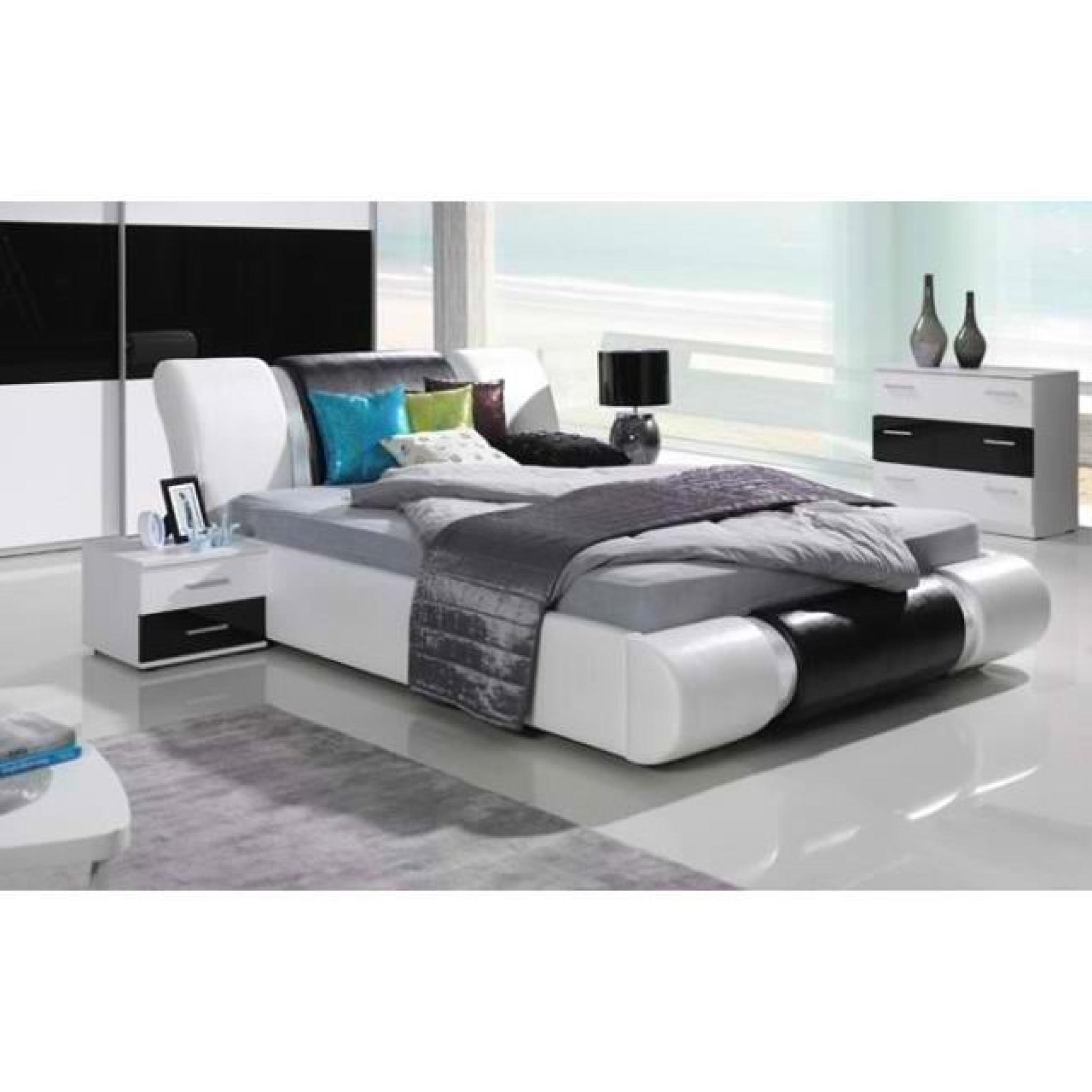 ensemble meubles design pour chambre coucher texas blanc et noir laqu lit 2 chevets. Black Bedroom Furniture Sets. Home Design Ideas