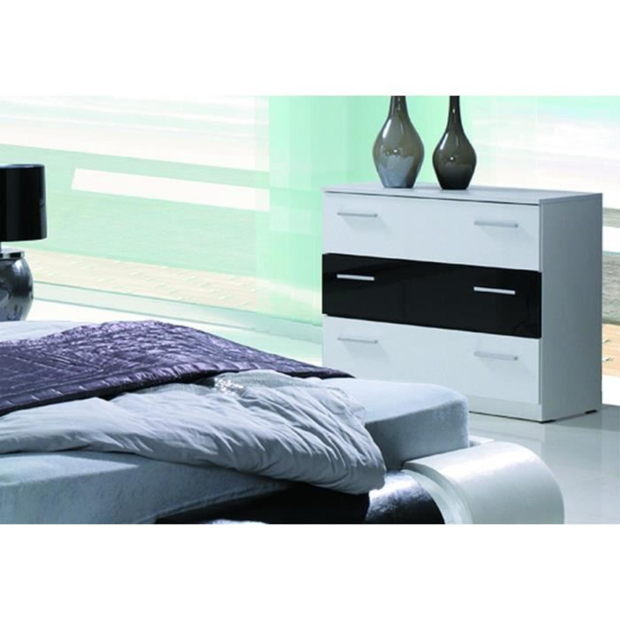Ensemble Meubles Design Pour Chambre à Coucher TEXAS Blanc Et Noir Laqué.  Lit + 2