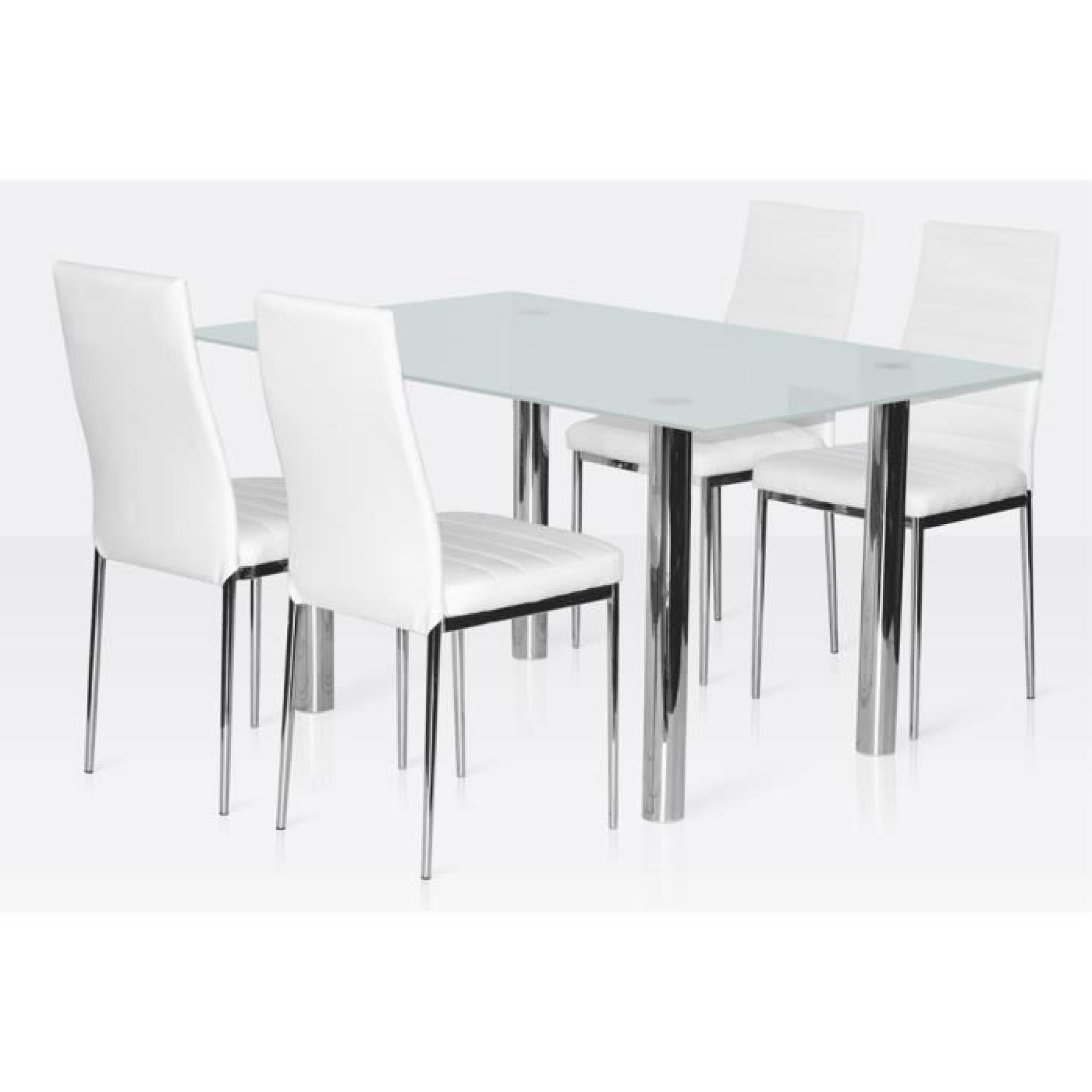 Ensemble salle manger 4 chaises table en verre blanc for Table a manger chaise